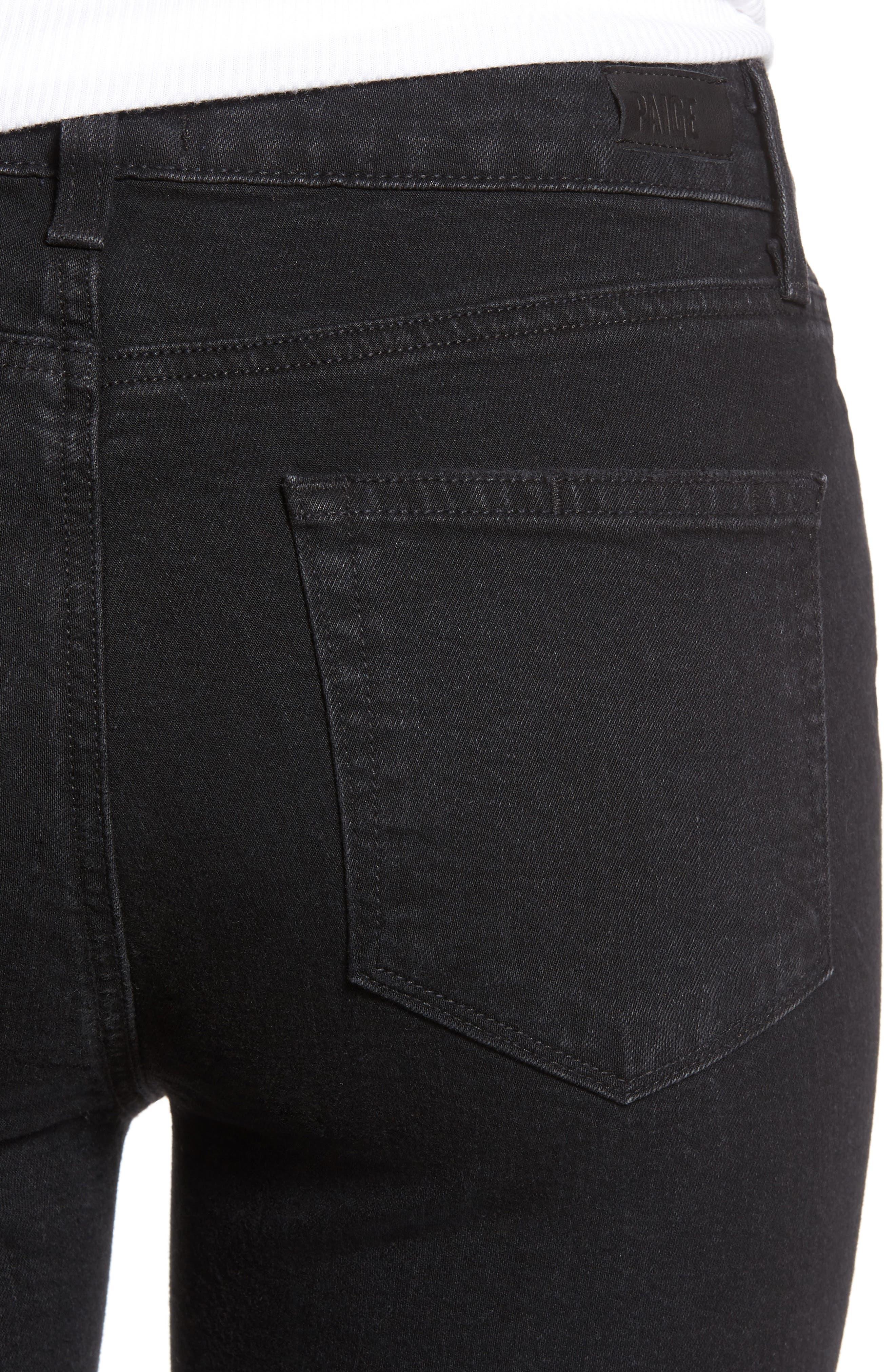 Jacqueline High Waist Crop Straight Leg Jeans,                             Alternate thumbnail 4, color,                             001