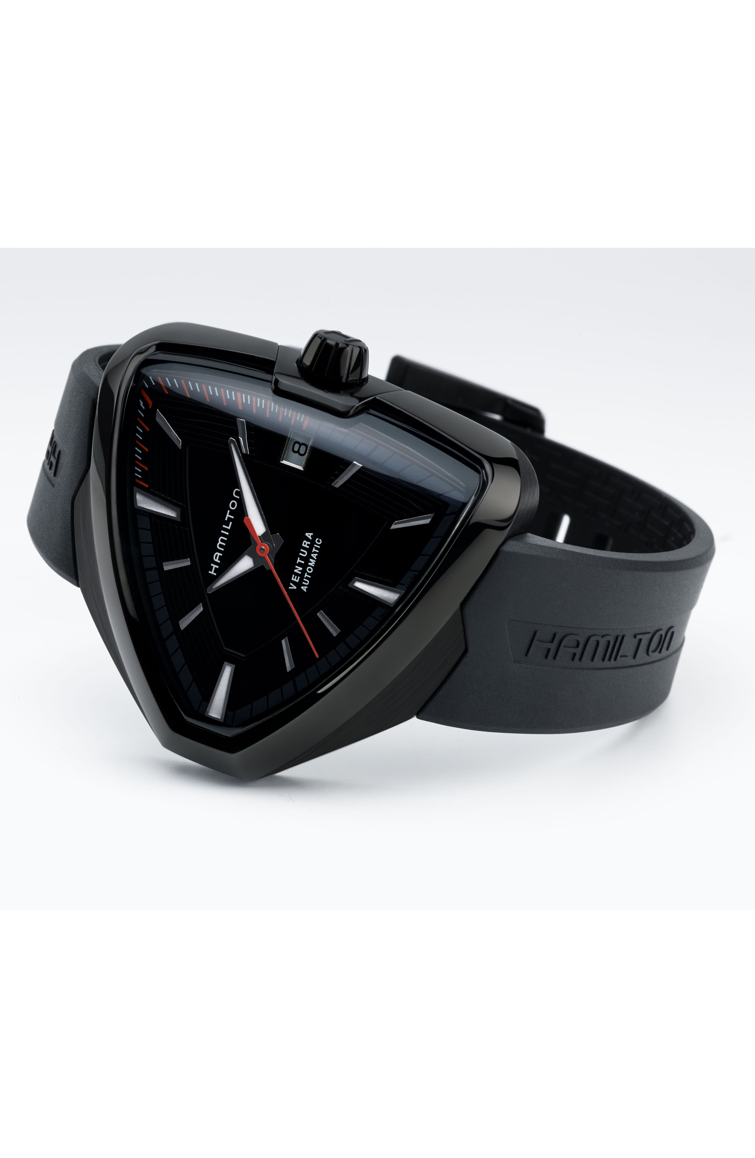 Ventura Elvis80 Automatic Silicone Strap Watch, 42.5mm x 44.5mm,                             Alternate thumbnail 4, color,                             001