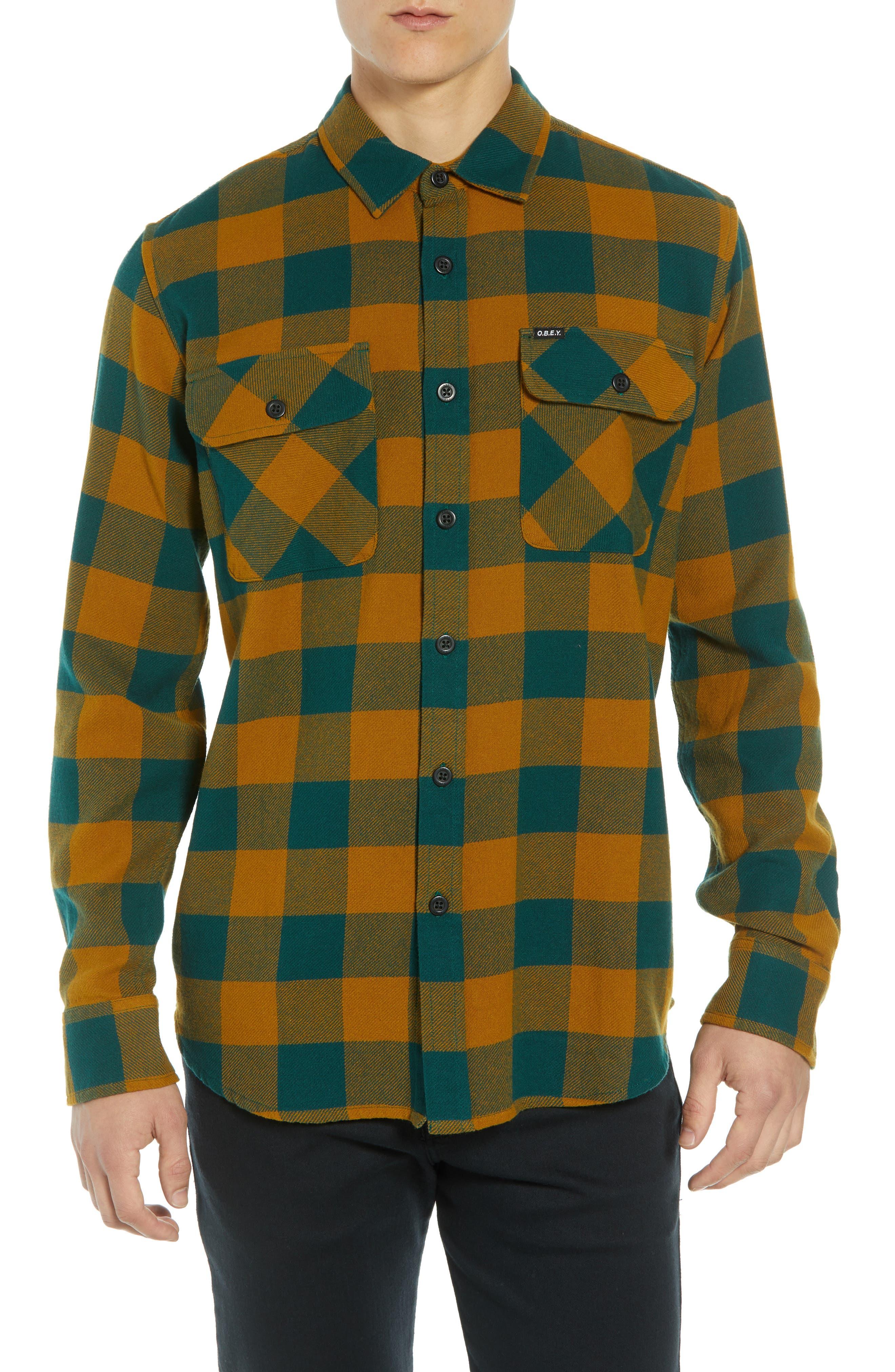 Vedder Buffalo Plaid Flannel Shirt,                         Main,                         color, DARK TEAL MULTI