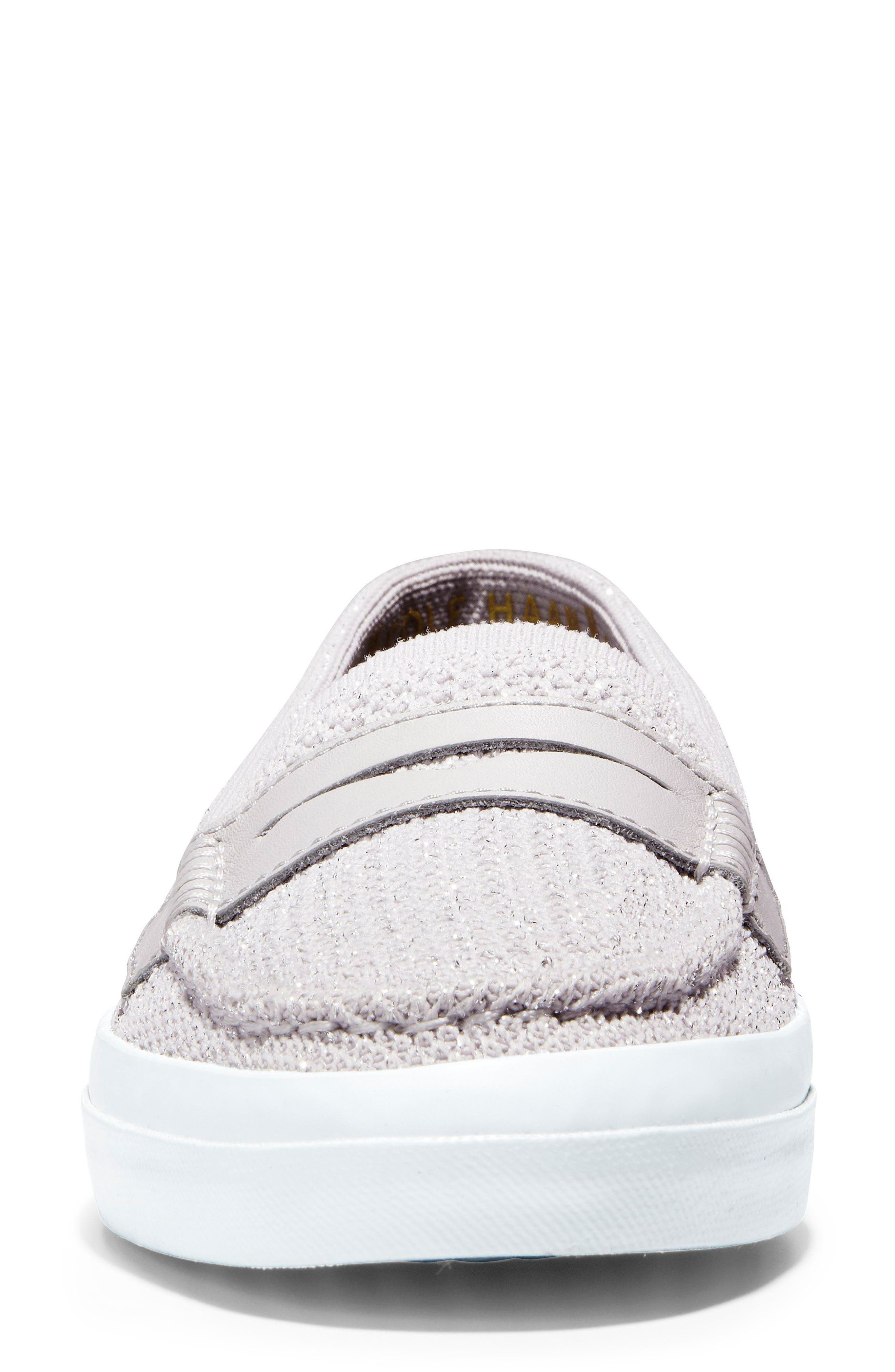 Pinch Stitchlite<sup>™</sup> Loafer,                             Alternate thumbnail 4, color,                             SILVER/ WHITE LEATHER