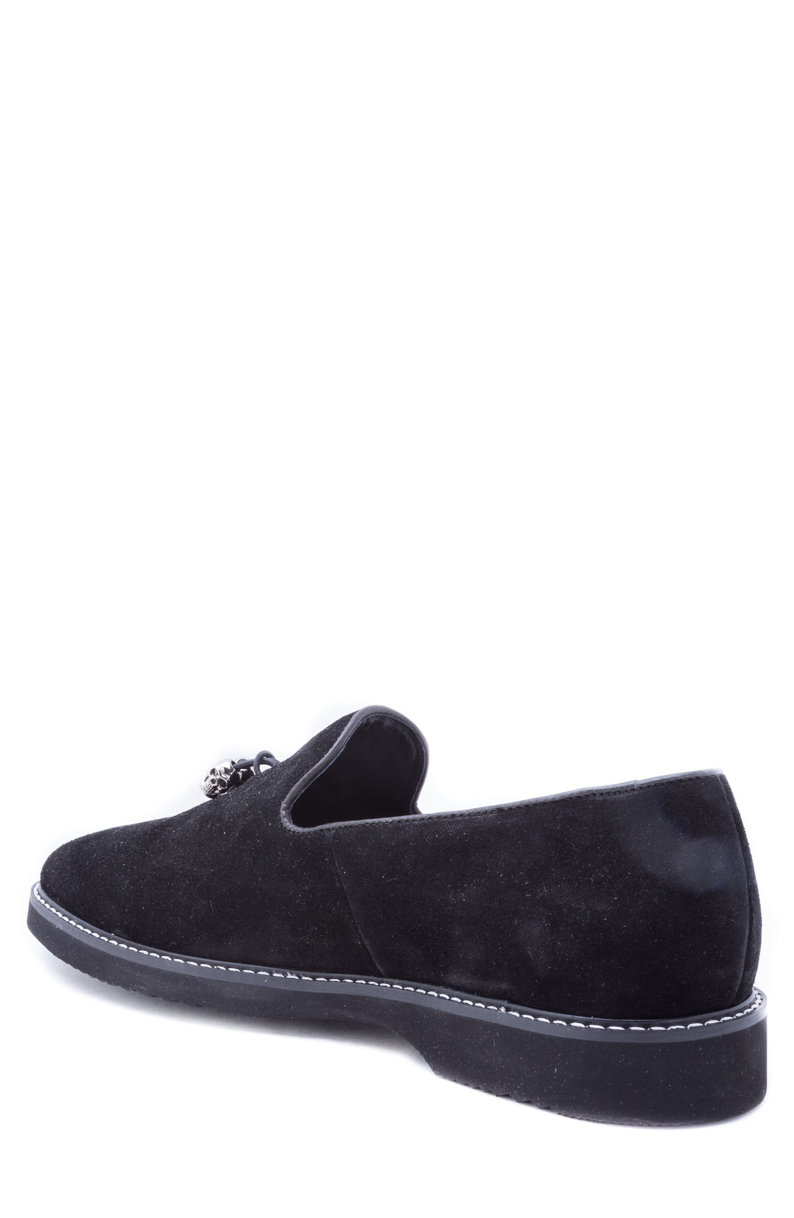 Badgley Mischka Heston Tassel Loafer,                             Alternate thumbnail 2, color,                             BLACK SUEDE