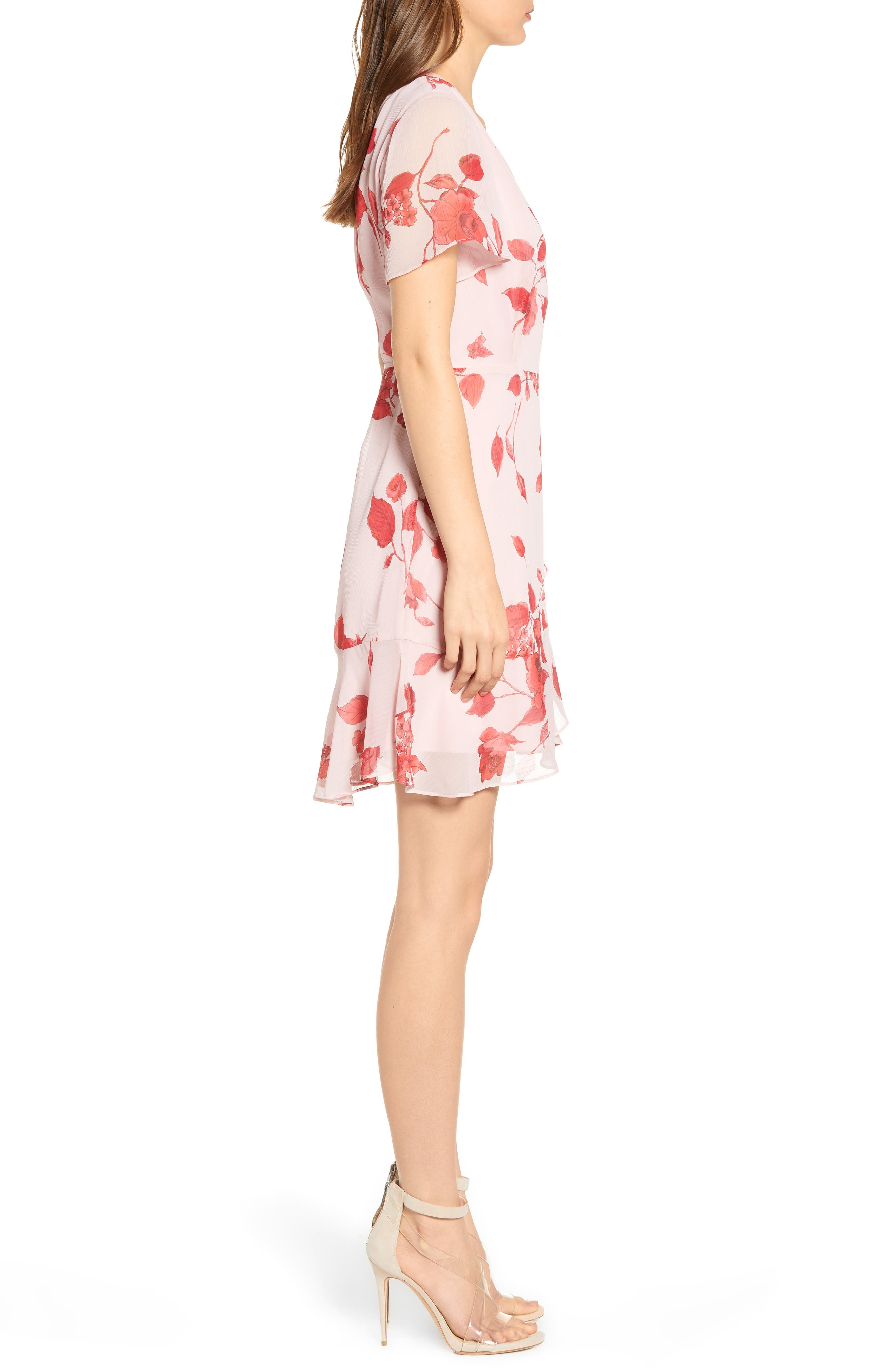 ALL IN FAVOR,                             Isabella Wrap Dress,                             Alternate thumbnail 3, color,                             RED PAINTED FLORAL