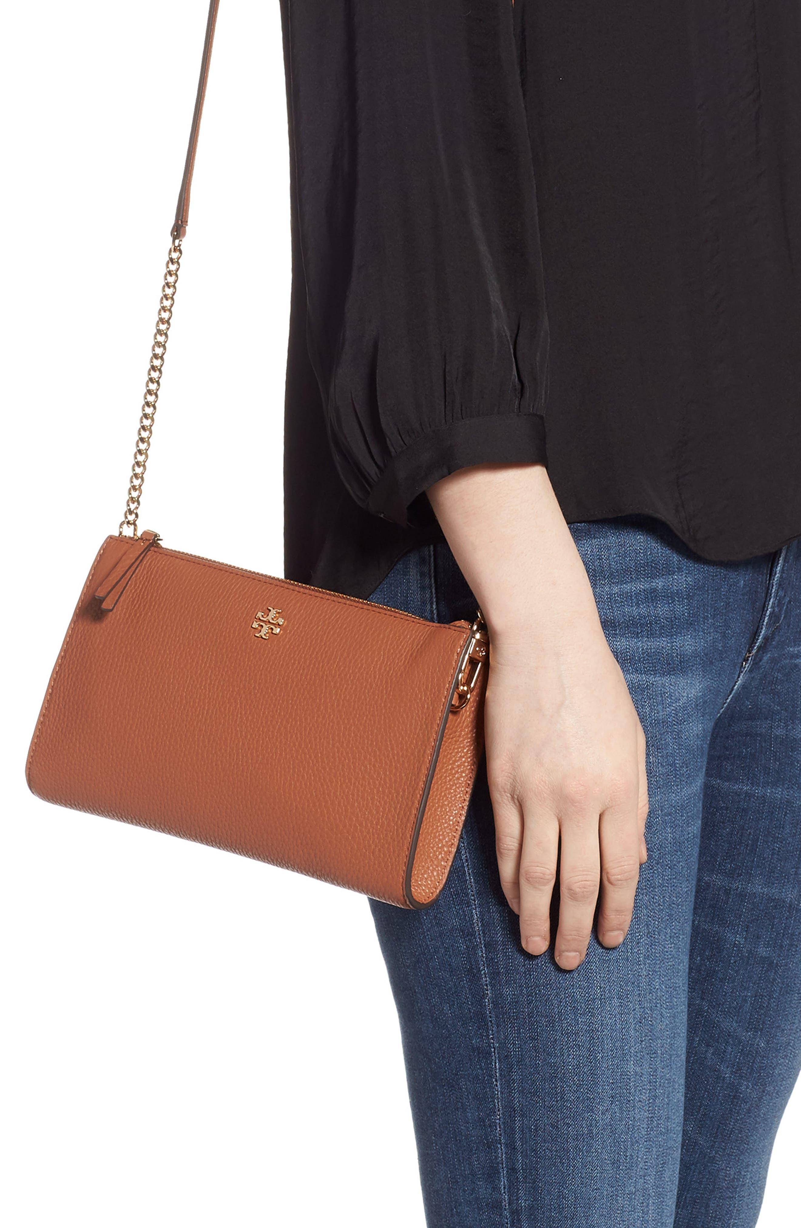 TORY BURCH,                             Pebbled Leather Top Zip Crossbody Bag,                             Alternate thumbnail 2, color,                             CLASSIC TAN