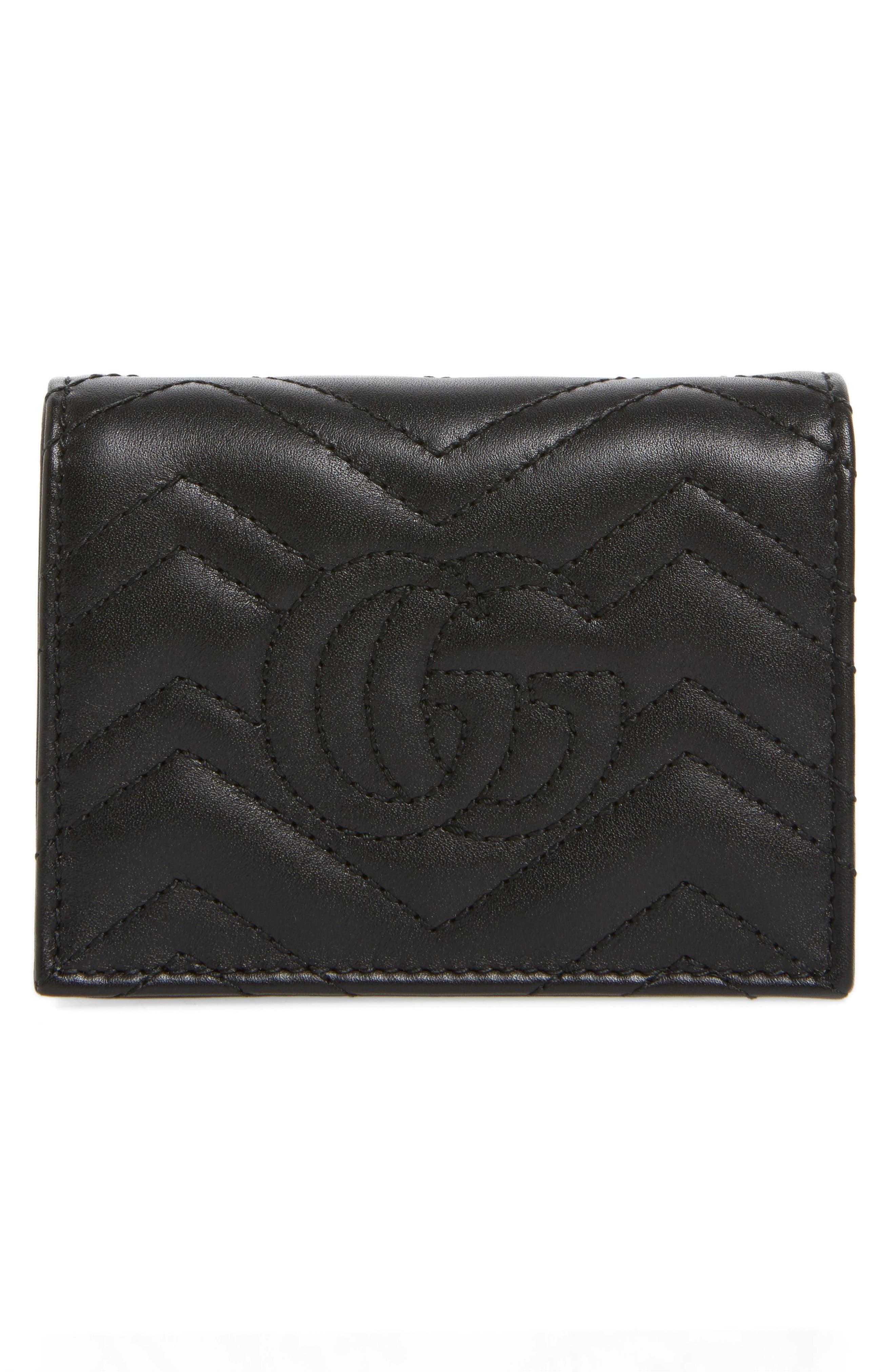 GG Marmont 2.0 Moth Matelassé Leather Card Case,                             Alternate thumbnail 4, color,                             001