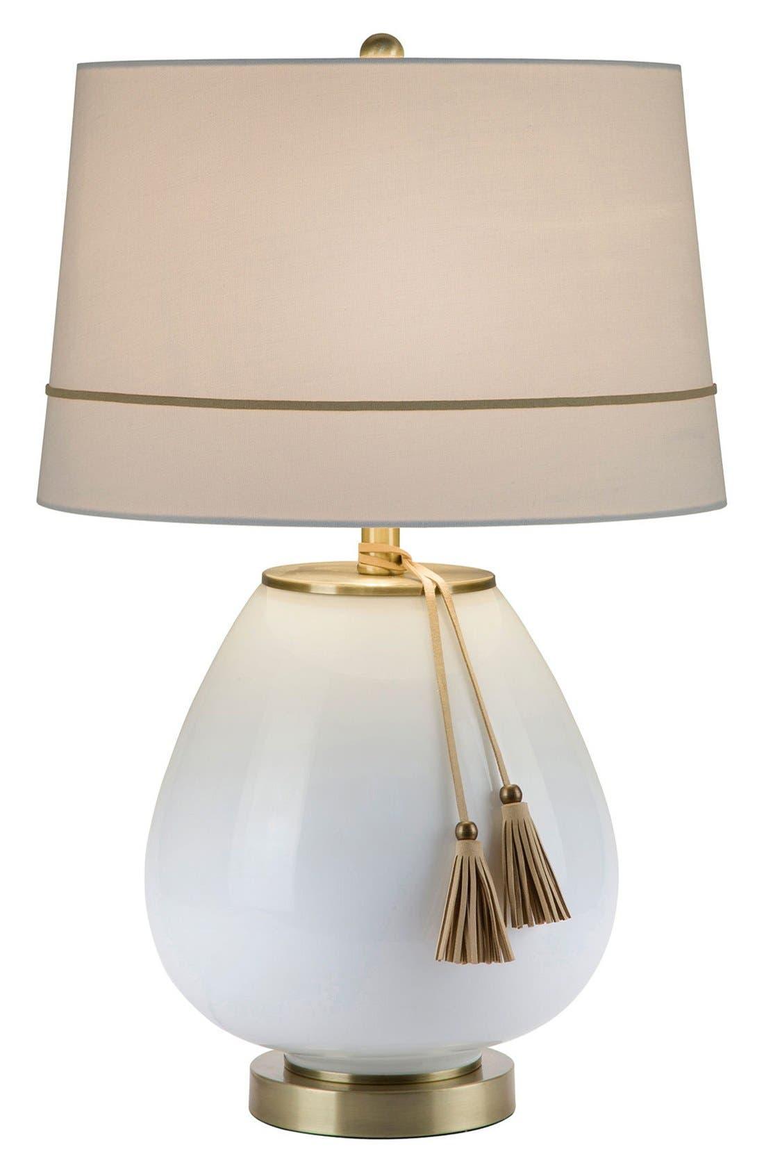 JAlexander 'Opal' Tassel Glass Table Lamp,                         Main,                         color, WHITE