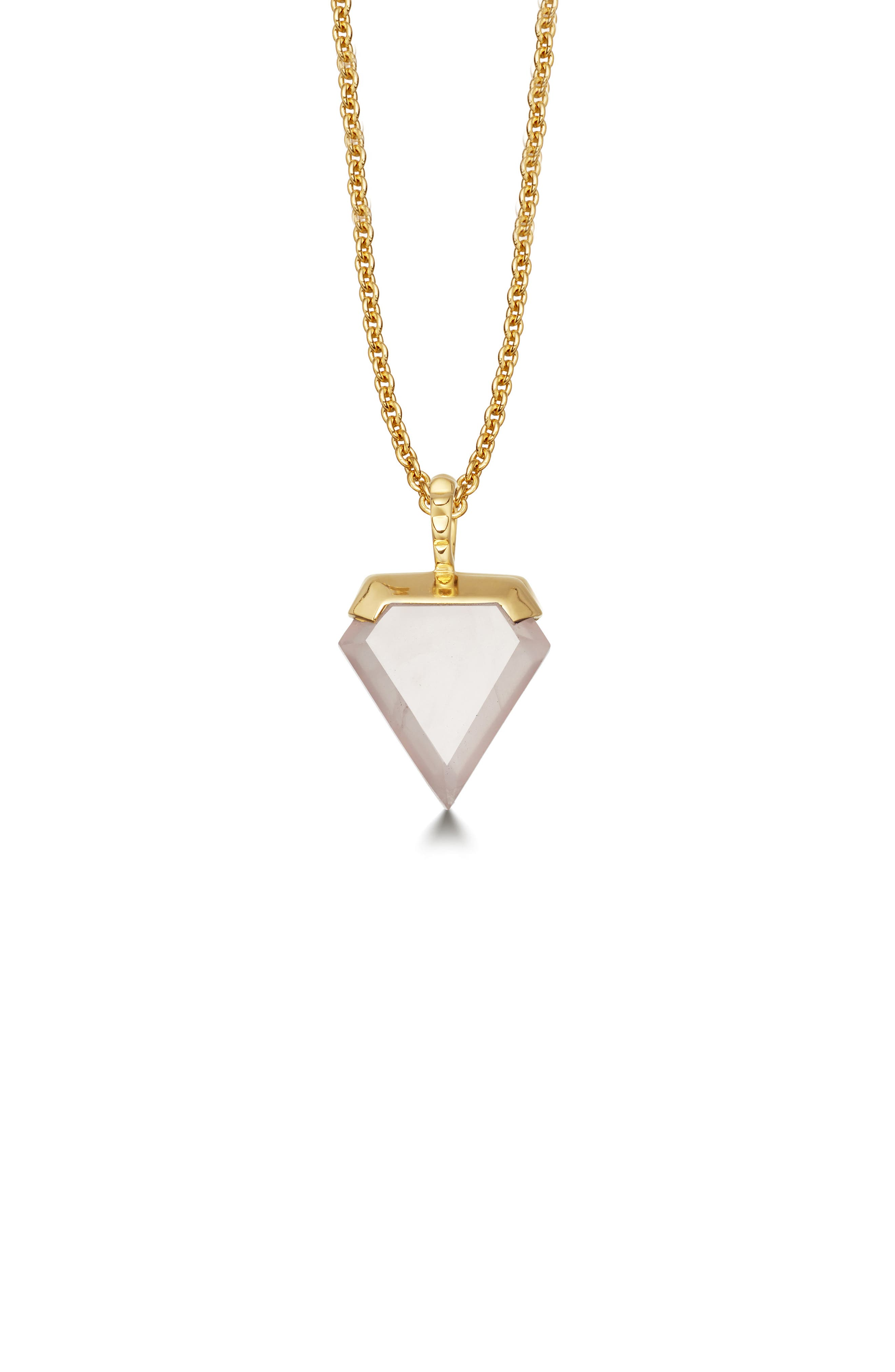 Mini Shield Pendant Necklace,                             Main thumbnail 1, color,                             ROSE QUARTZ/ GOLD