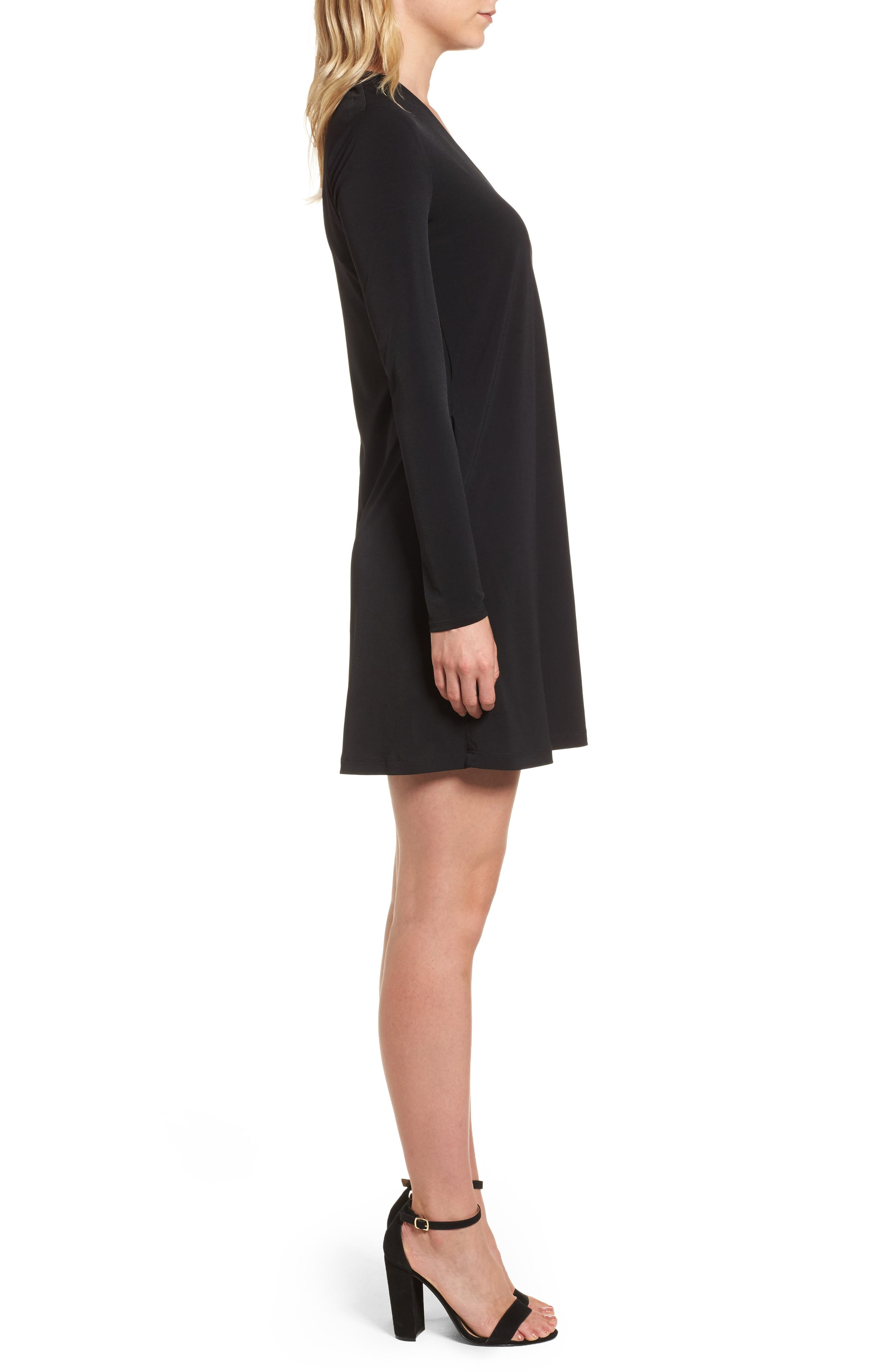 V-Neck A-Line Dress,                             Alternate thumbnail 3, color,                             001