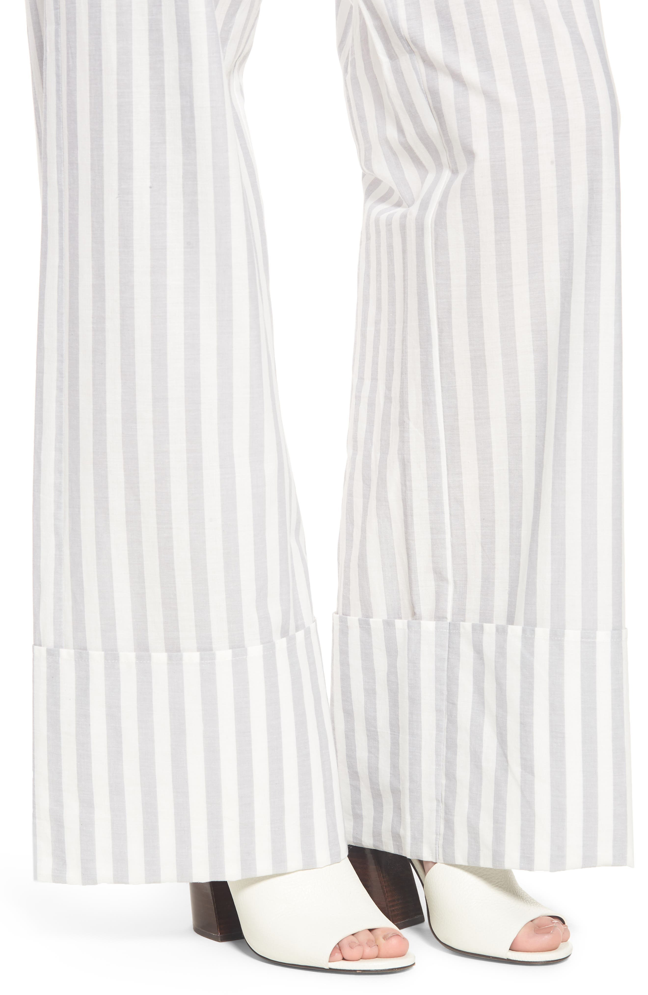 LOST INK,                             Wide Turn Up Stripe Trouser,                             Alternate thumbnail 4, color,                             020