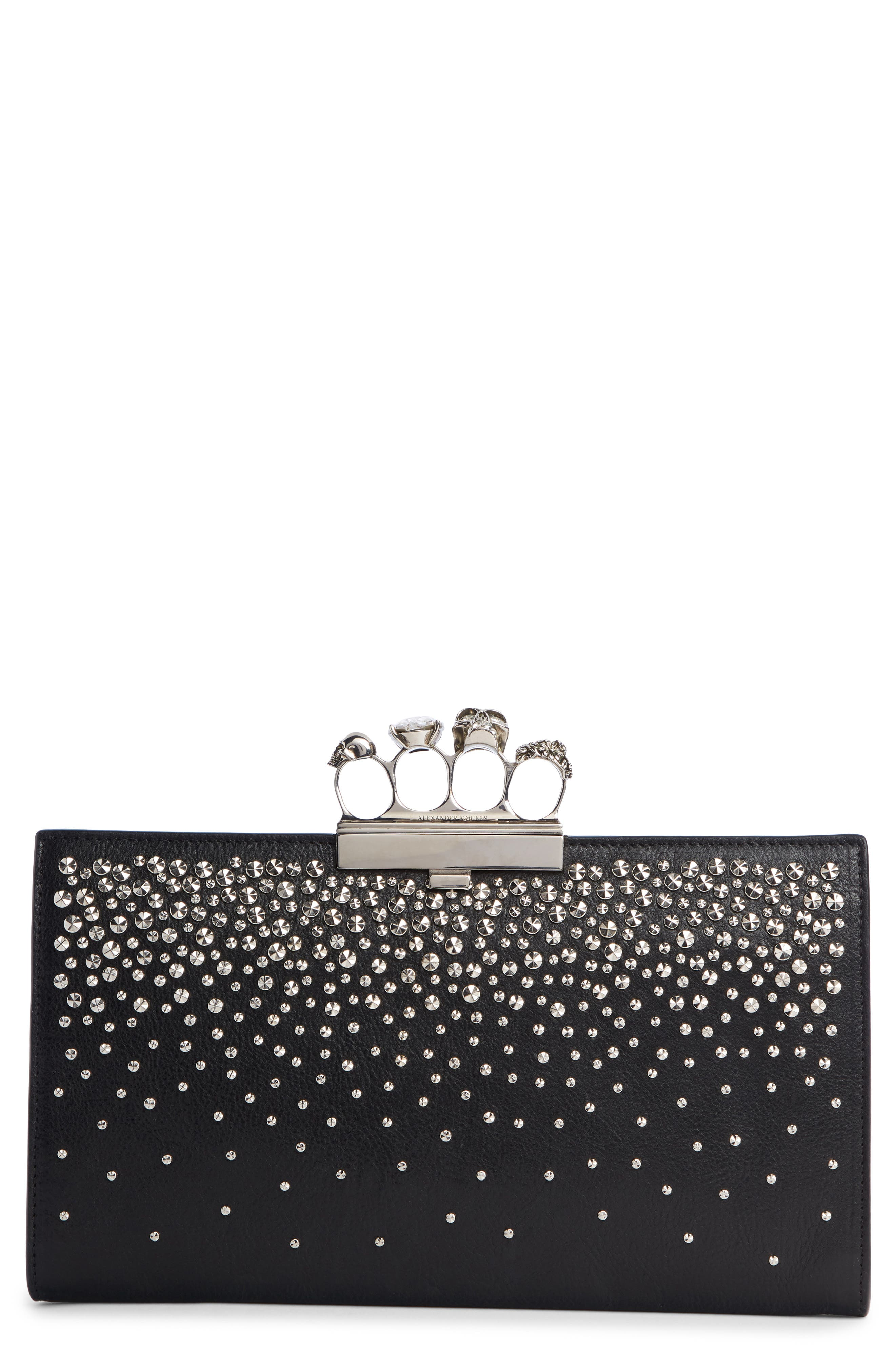 Four Ring Studded Knuckle Clasp Leather Clutch, Main, color, BLACK