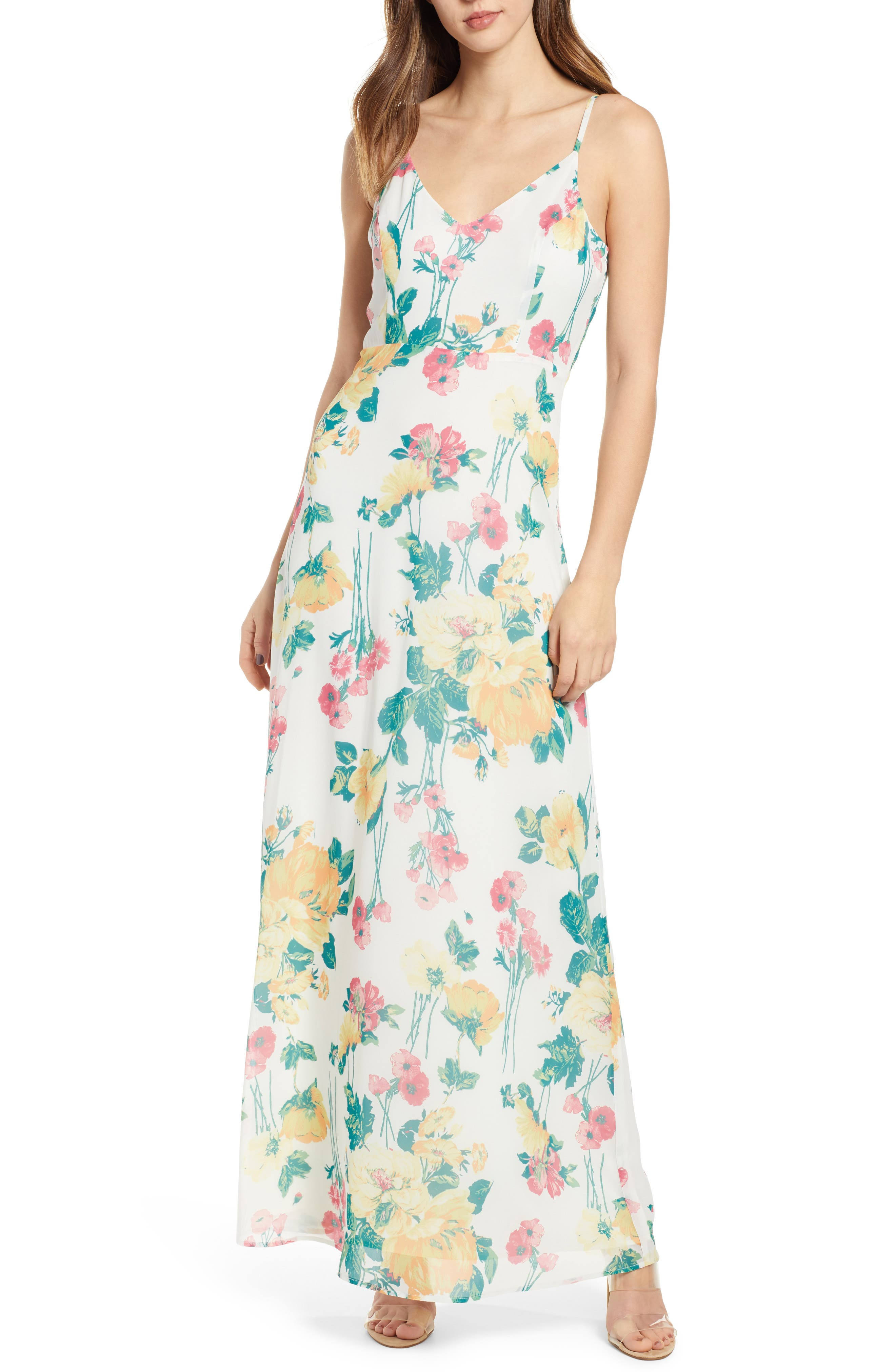 Leith Floral Covered Button Maxi Dress, Ivory