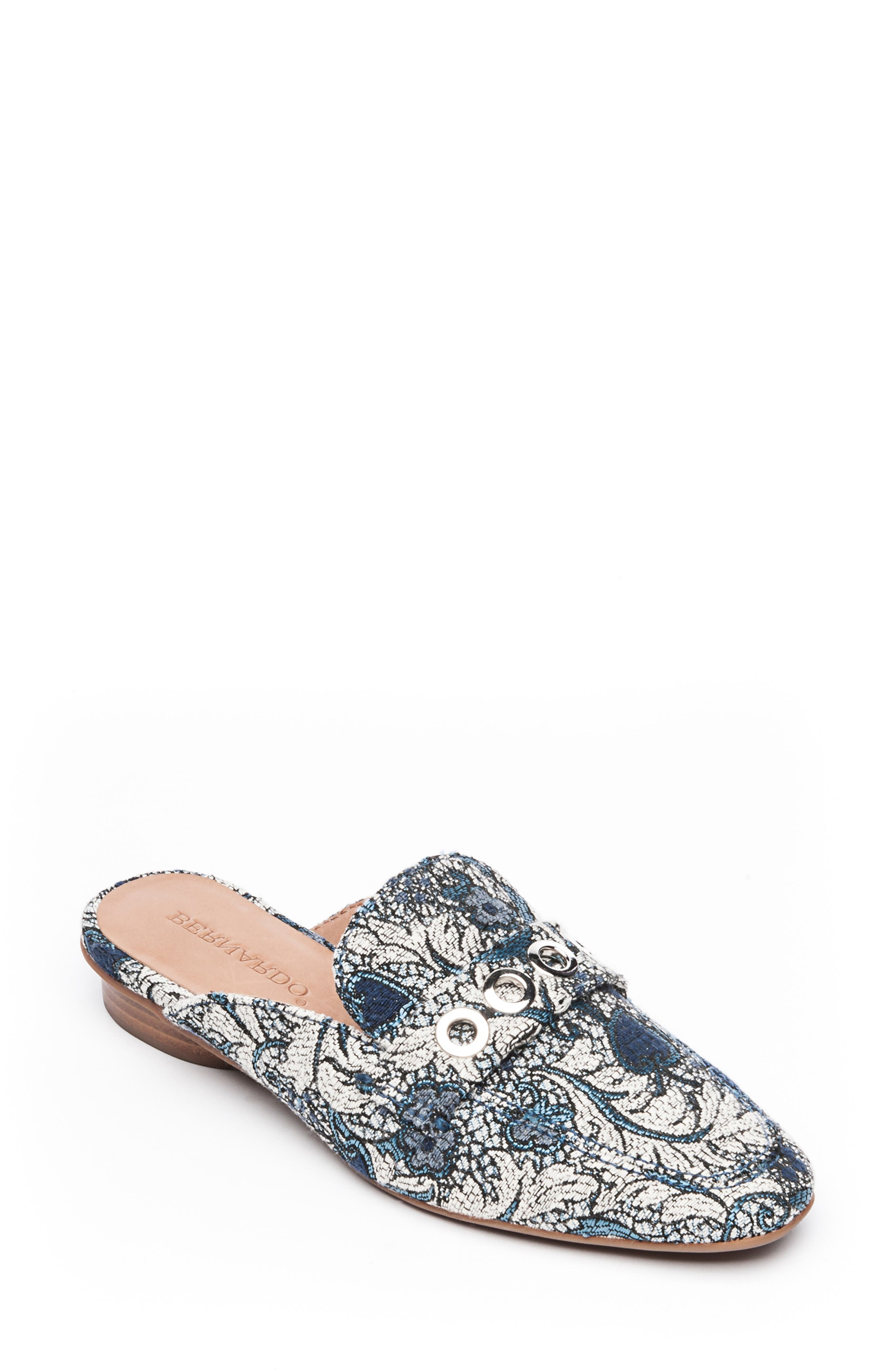Bernardo Jen Mule,                             Main thumbnail 1, color,                             BLUE JACQUARD LEATHER