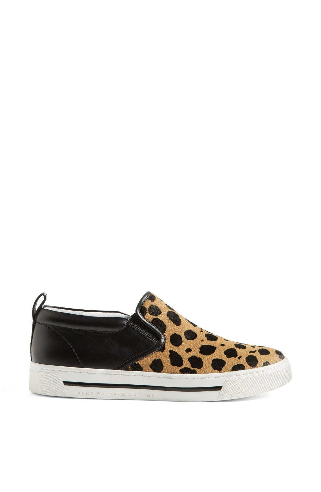 MARC BY MARC JACOBS Leather & Calf Hair Slip-On Sneaker,                             Alternate thumbnail 3, color,
