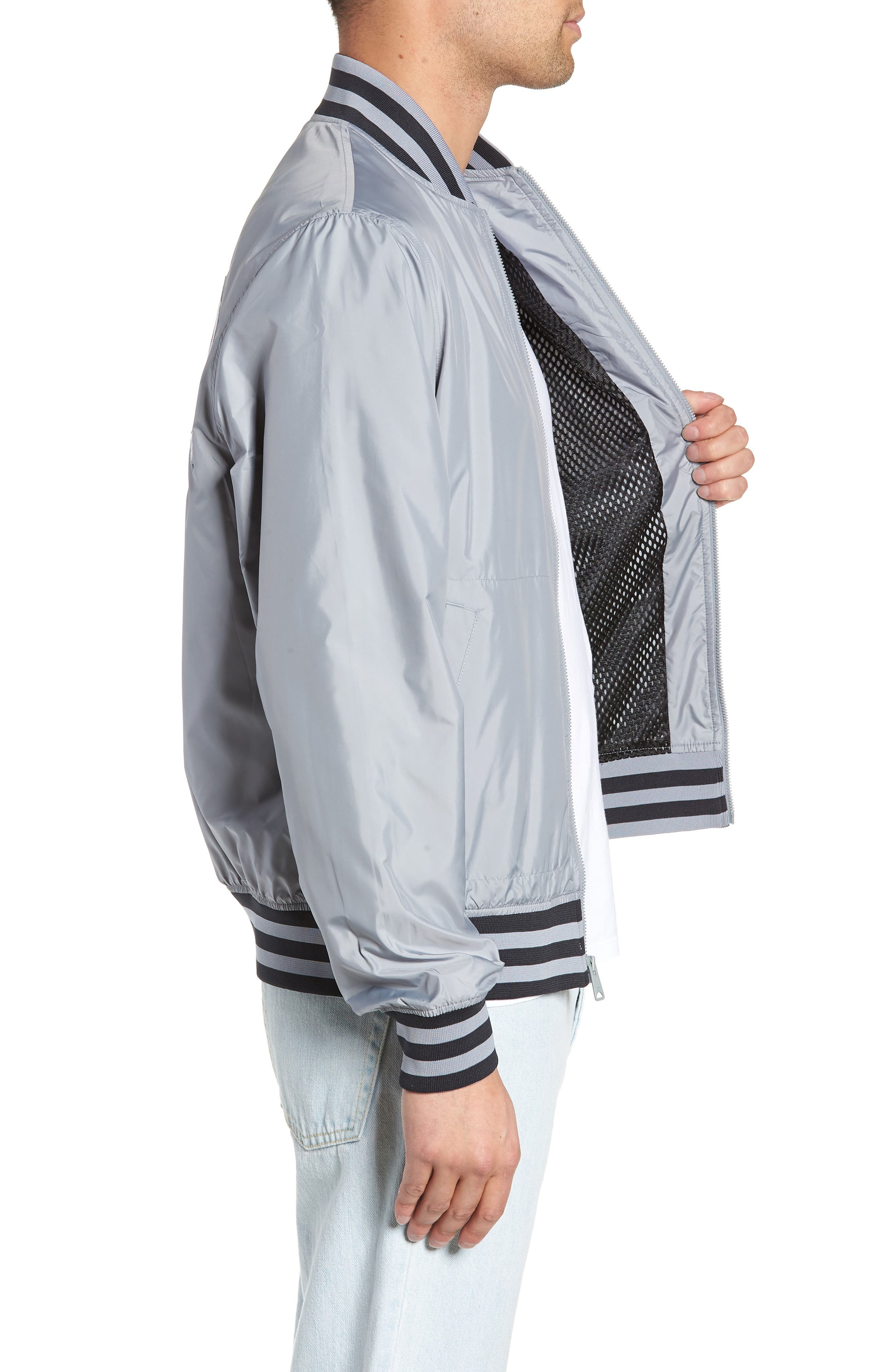 Satin Baseball Jacket,                             Alternate thumbnail 3, color,                             030