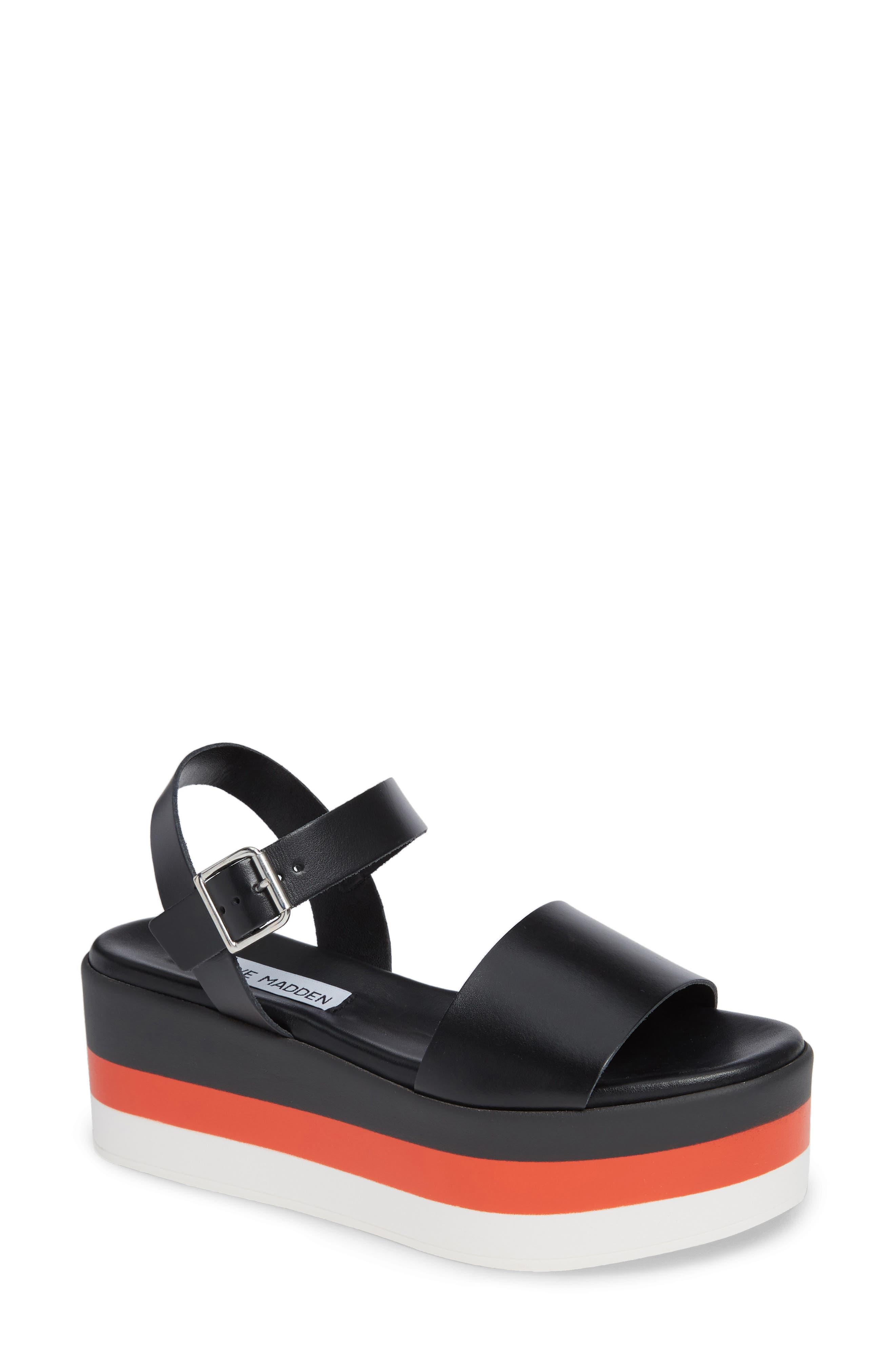 Holly Stripe Platform Sandal,                         Main,                         color, BLACK LEATHER