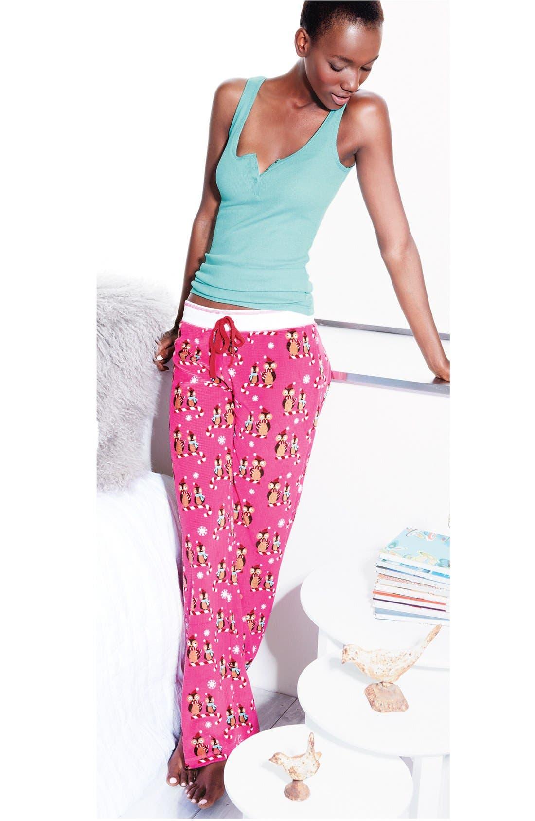 Print Thermal Pajama Pants,                             Alternate thumbnail 6, color,                             001