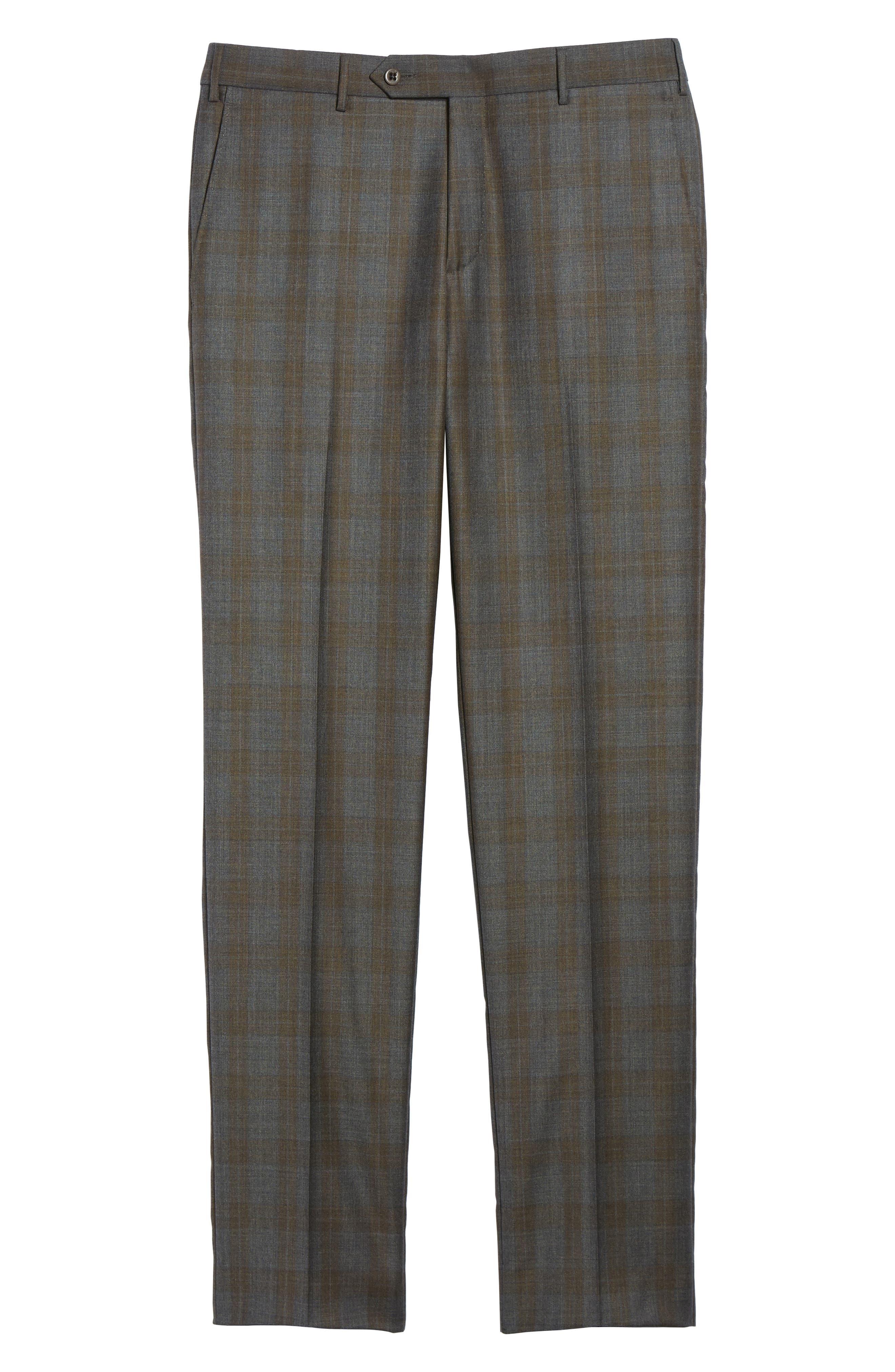 Parker Flat Front Plaid Wool Trousers,                             Alternate thumbnail 6, color,                             021