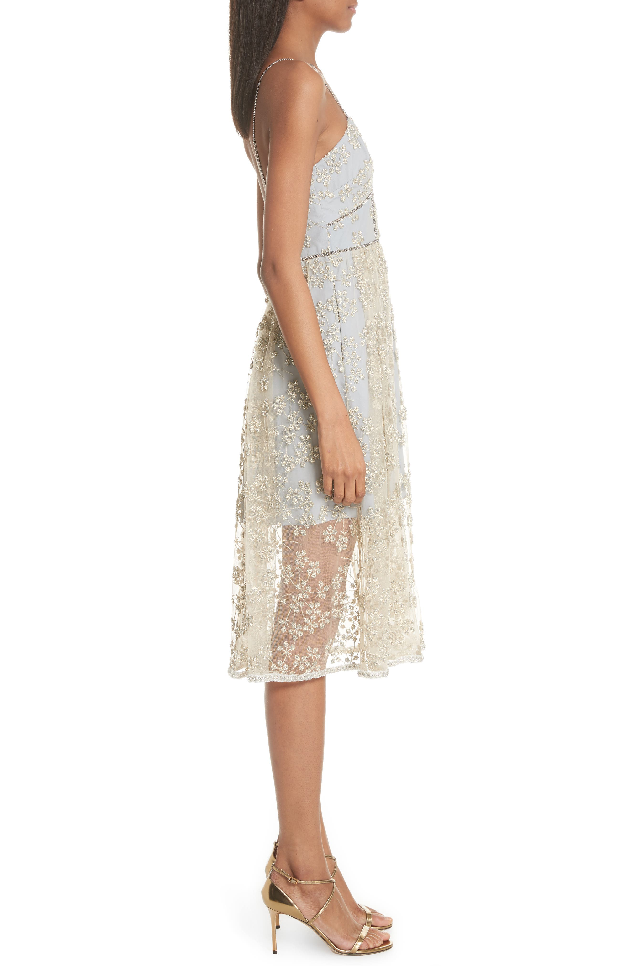 Metallic Floral Embroidery Chain Strap Dress,                             Alternate thumbnail 3, color,                             GOLD/ GREY