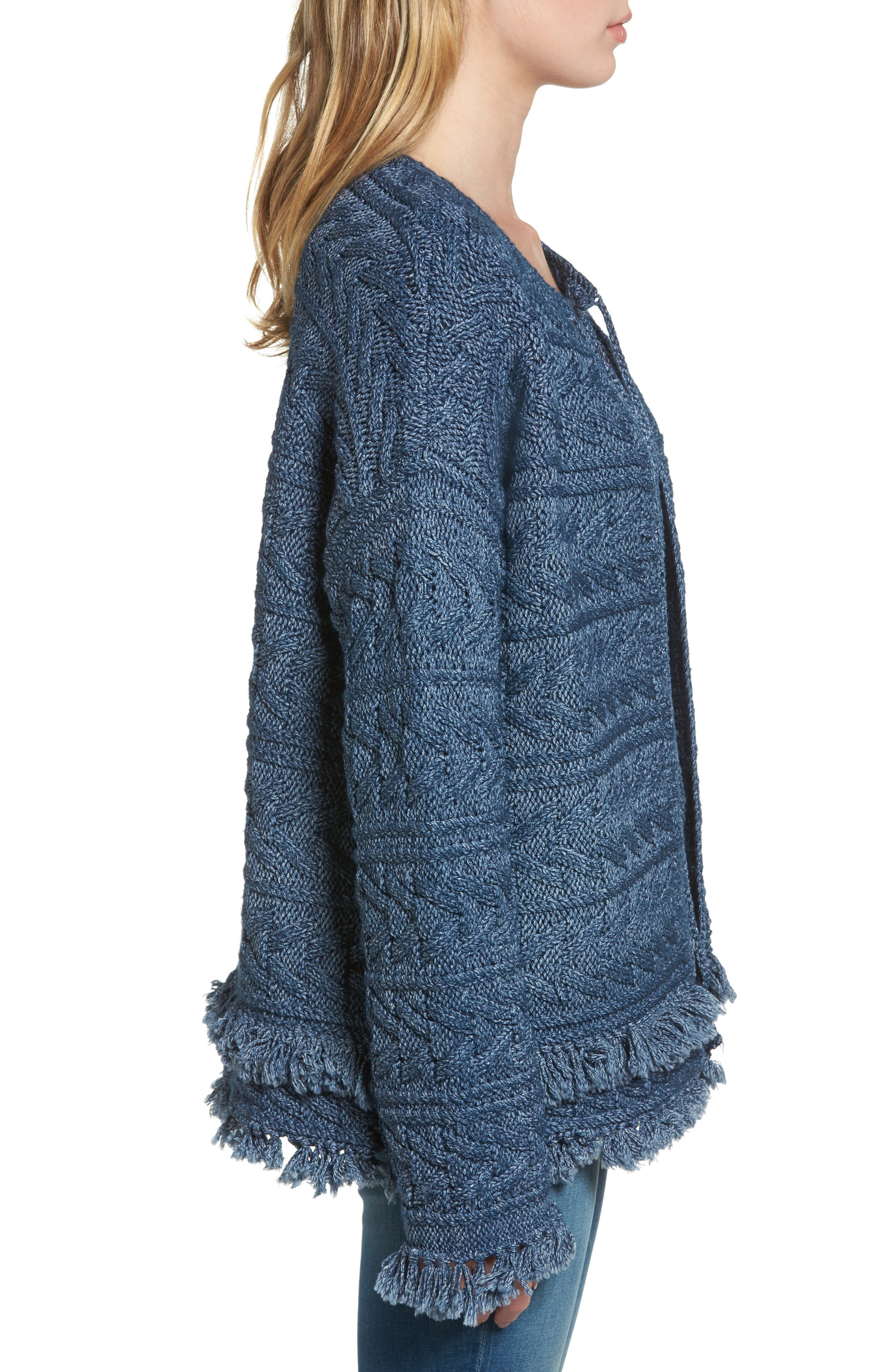 The Cable Fringe Sweater,                             Alternate thumbnail 3, color,                             409