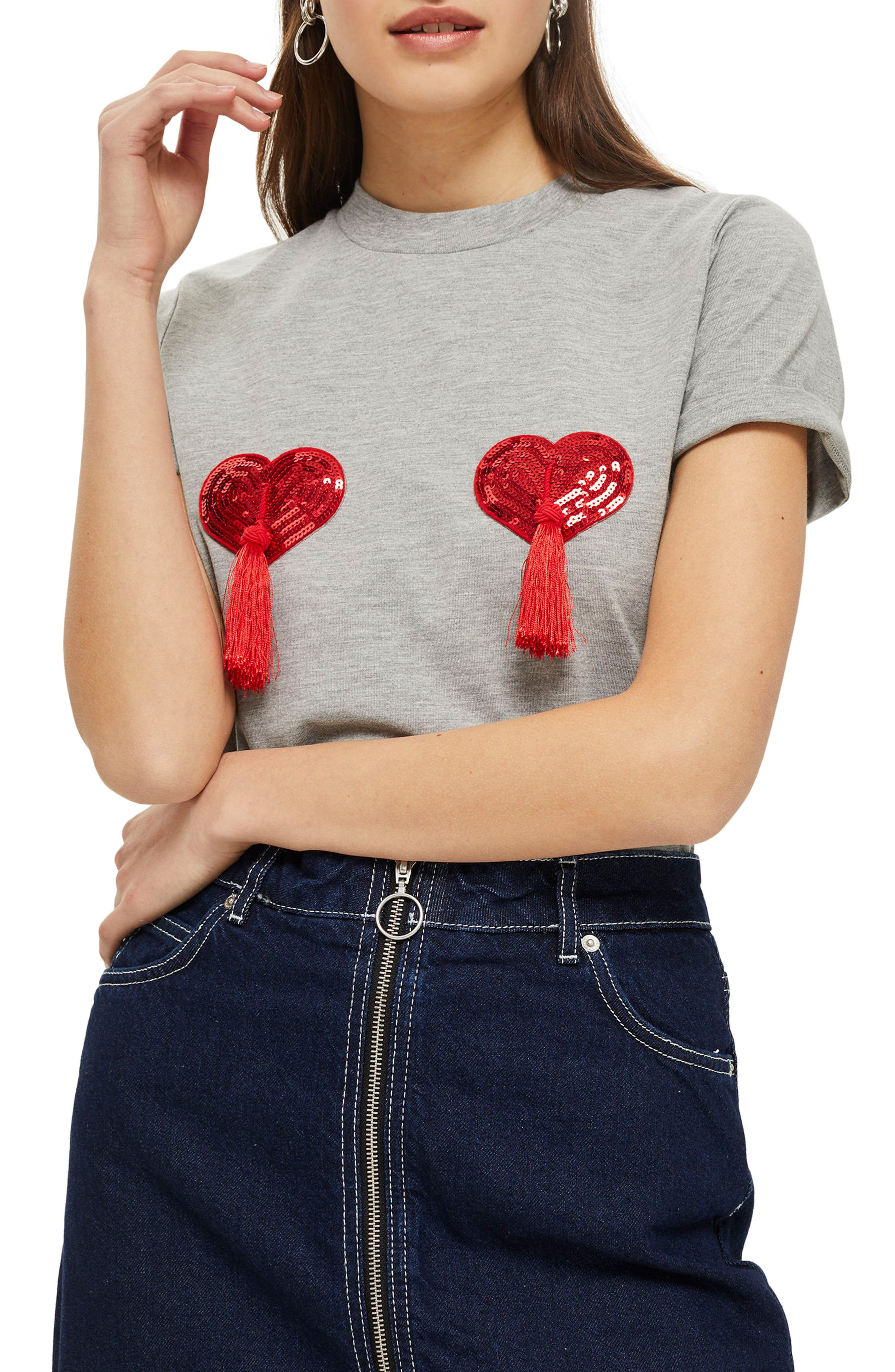 by Tee & Cake Heart Tassel T-Shirt,                         Main,                         color, 020