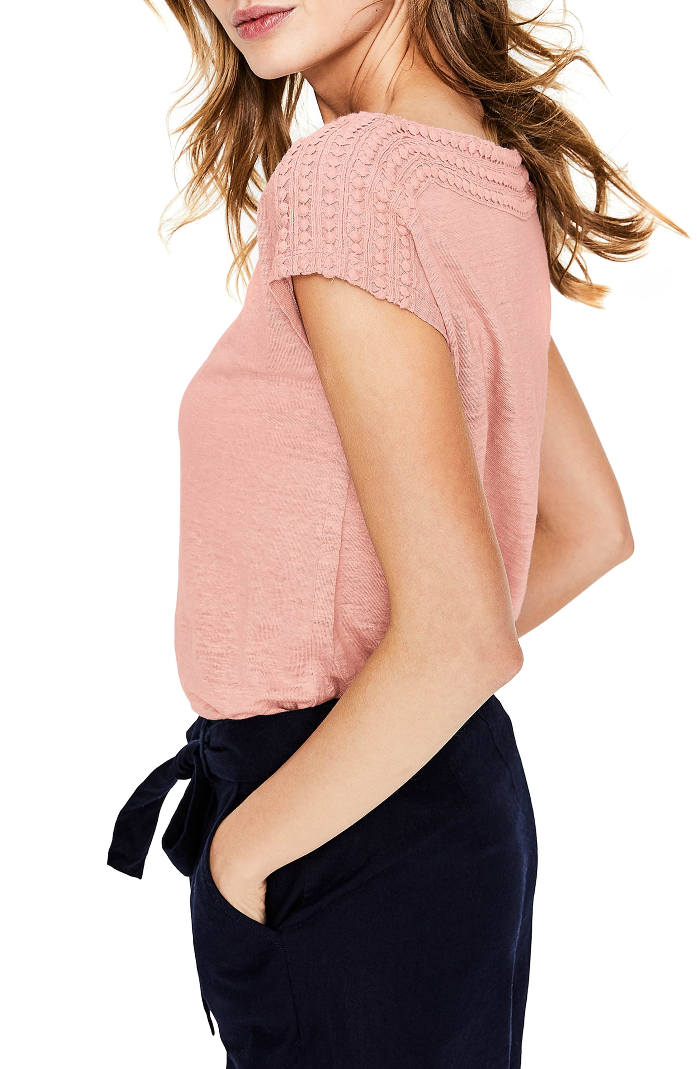 Embroidered Neck Linen Top,                             Alternate thumbnail 3, color,