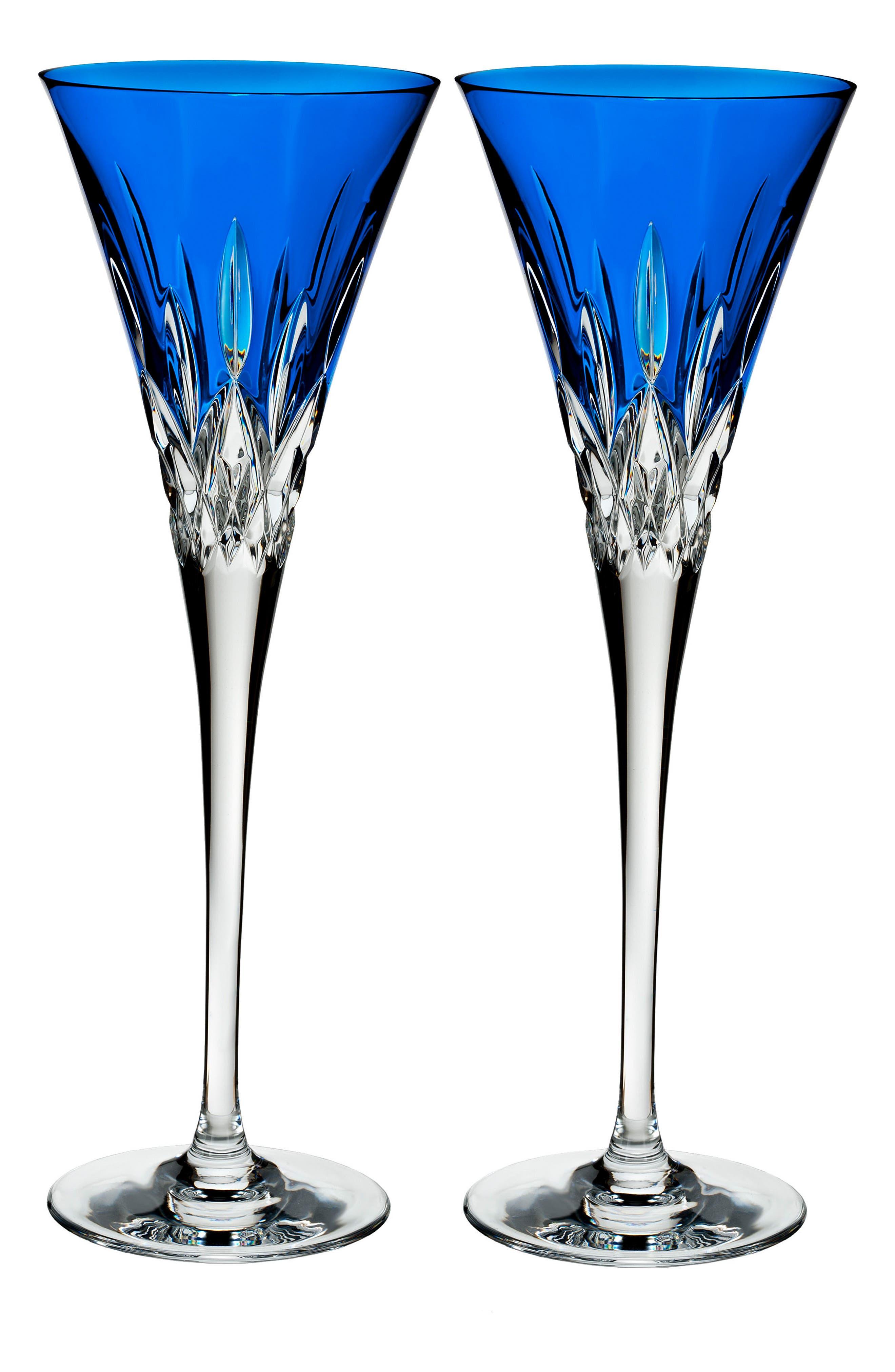 Lismore Pops Set of 2 Cobalt Lead Crystal Champagne Flutes,                         Main,                         color, 100