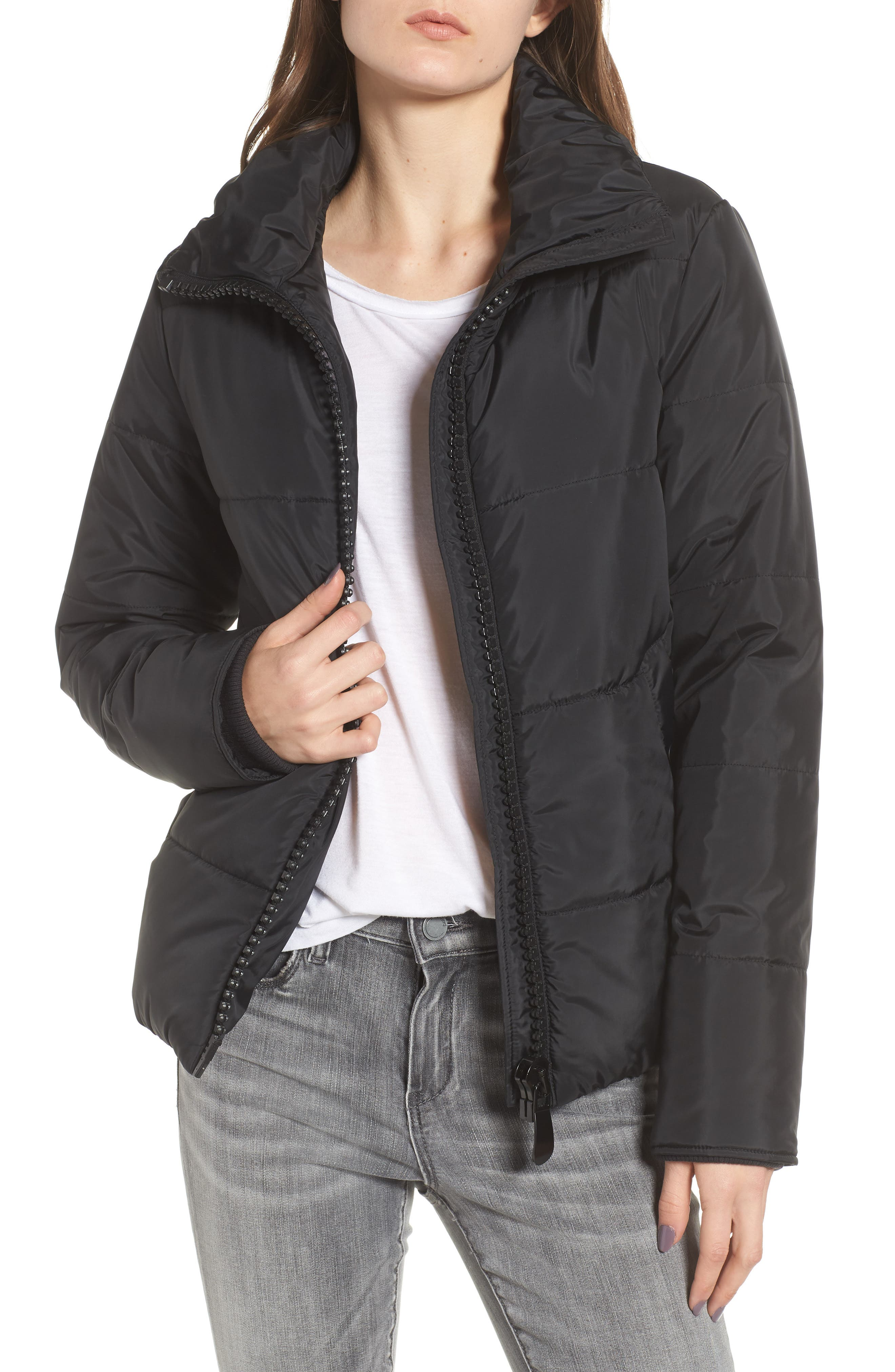 Rail Quilted Puffer Jacket,                             Main thumbnail 1, color,                             BLACK