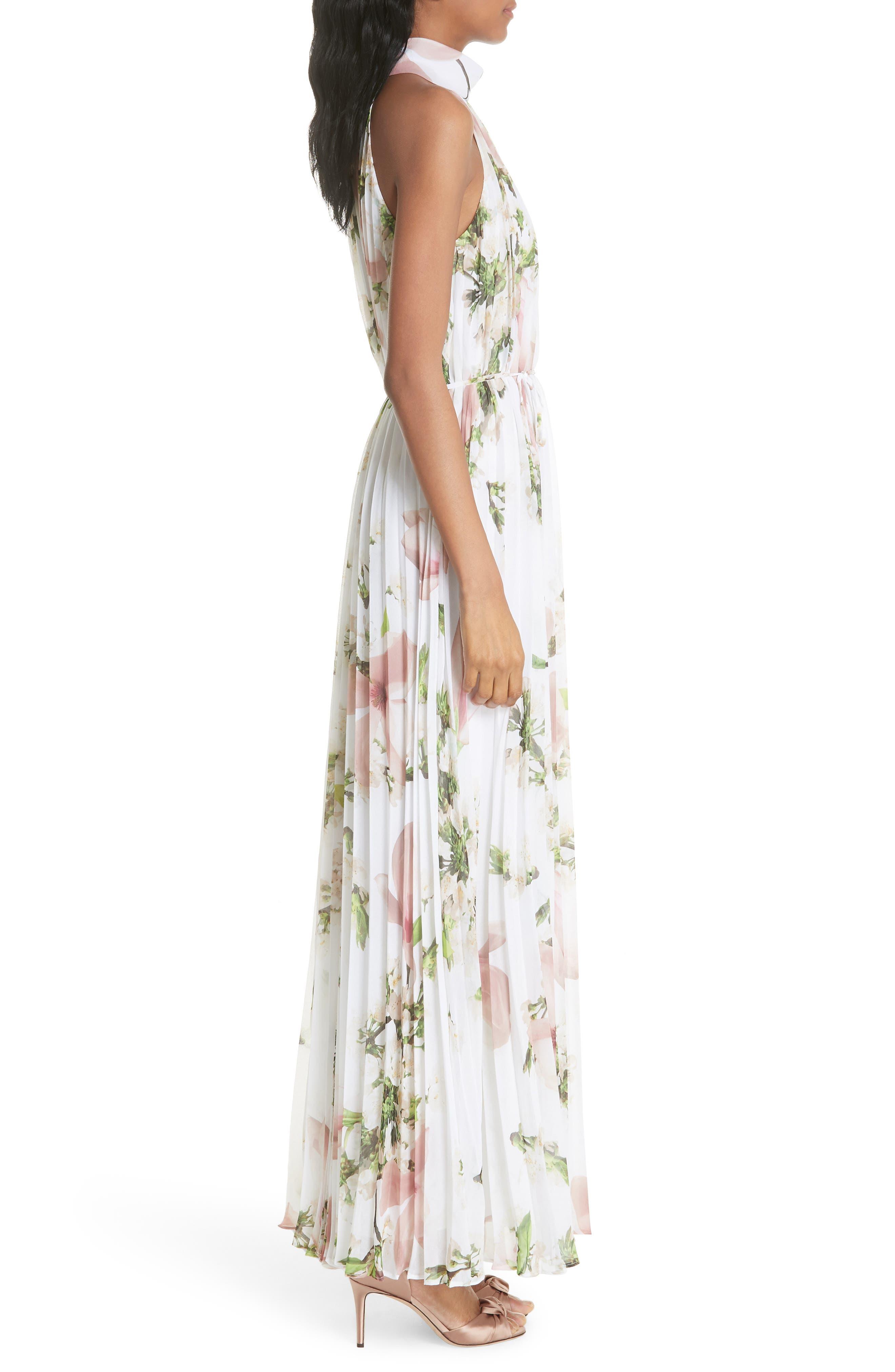 Harmony Pleat Maxi Dress,                             Alternate thumbnail 3, color,                             110