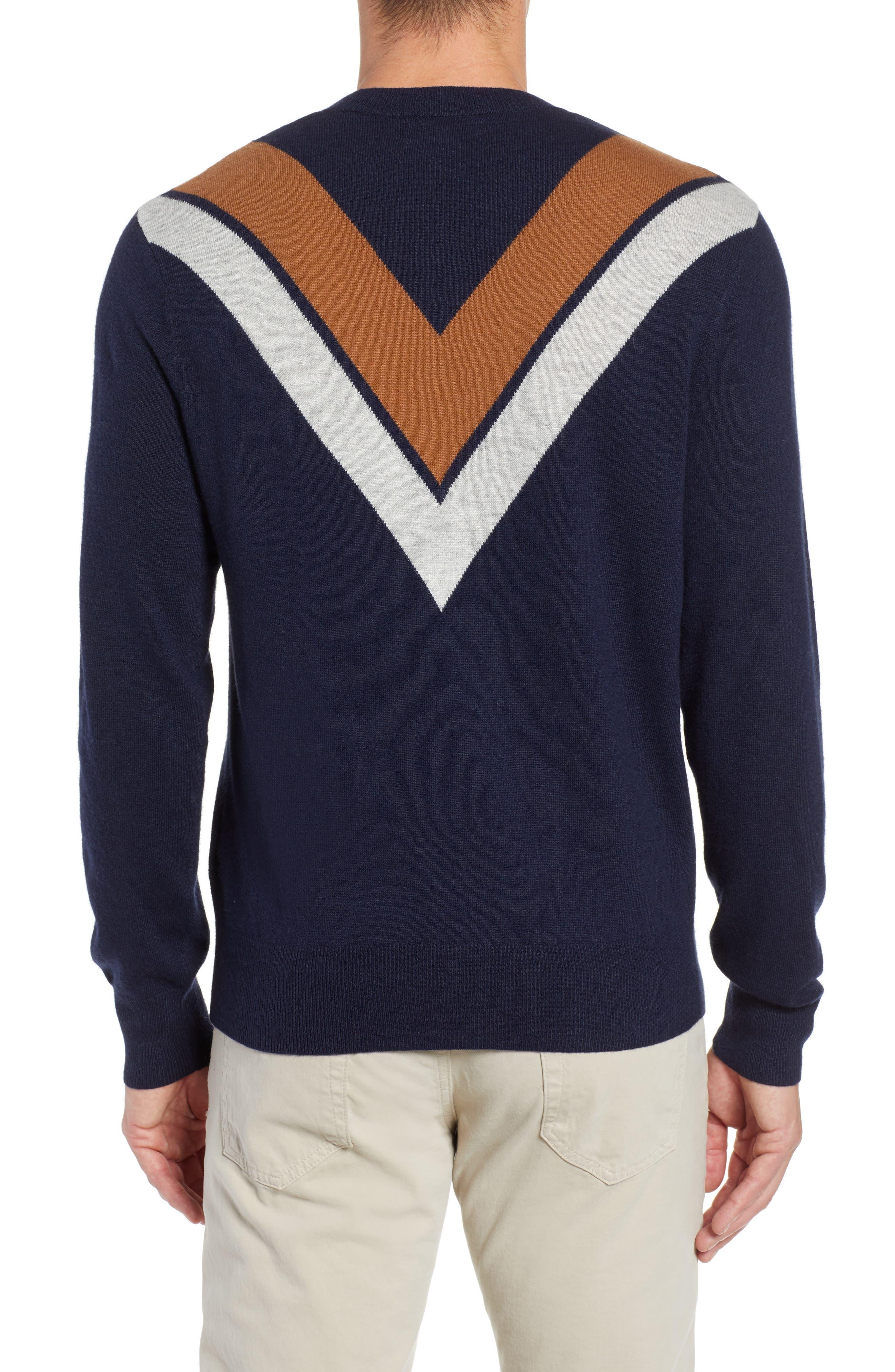 Minton V Crewneck Sweater,                             Alternate thumbnail 2, color,                             DARK NAVY/ LHN/ BURNT SUGAR
