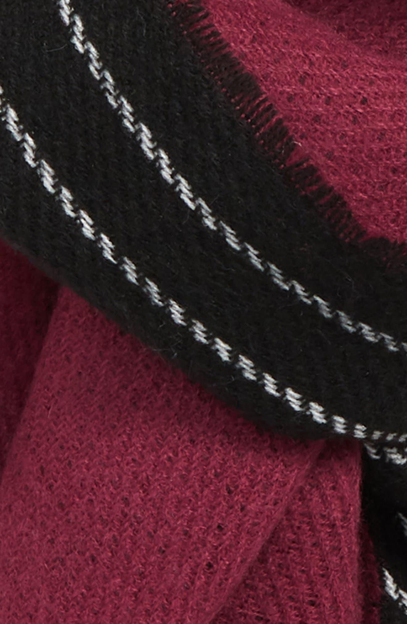 Chain Stitch Scarf,                             Alternate thumbnail 3, color,                             BLACK/ PLUM