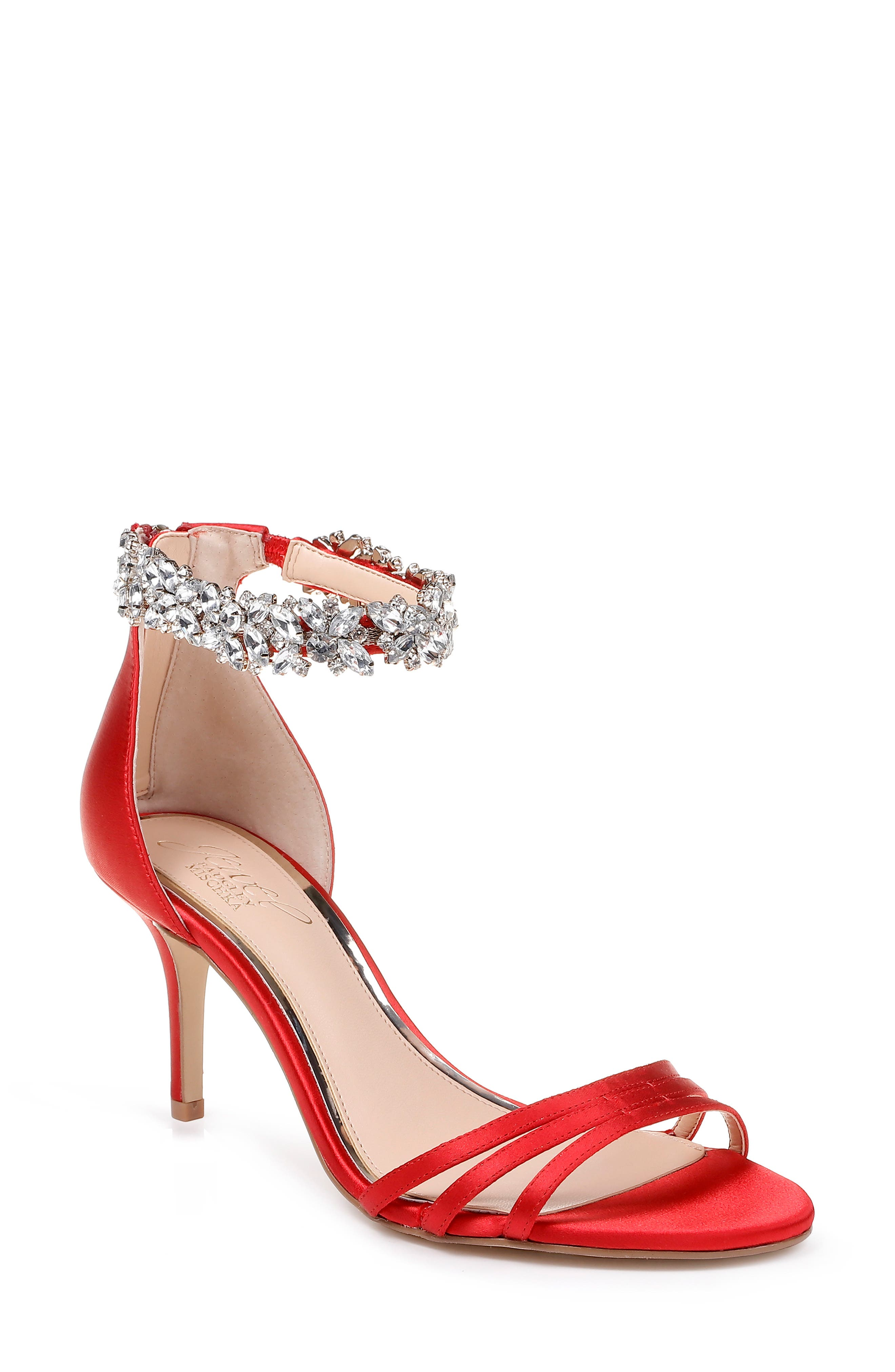 Jewel Badgley Mischka Zamora Ankle Strap Sandal- Red