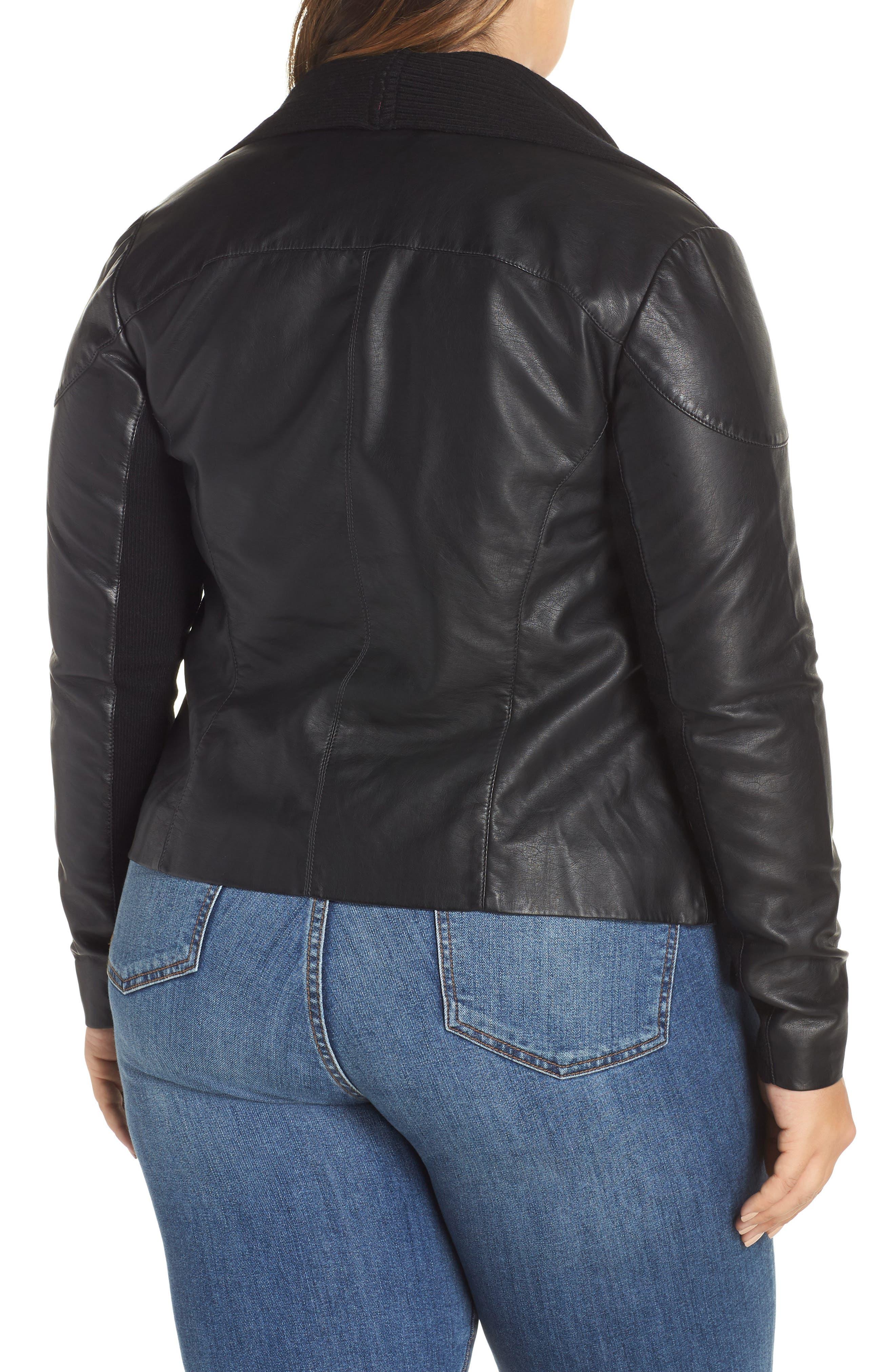 Ribbed Drape Front Faux Leather Jacket,                             Alternate thumbnail 2, color,                             BLACK