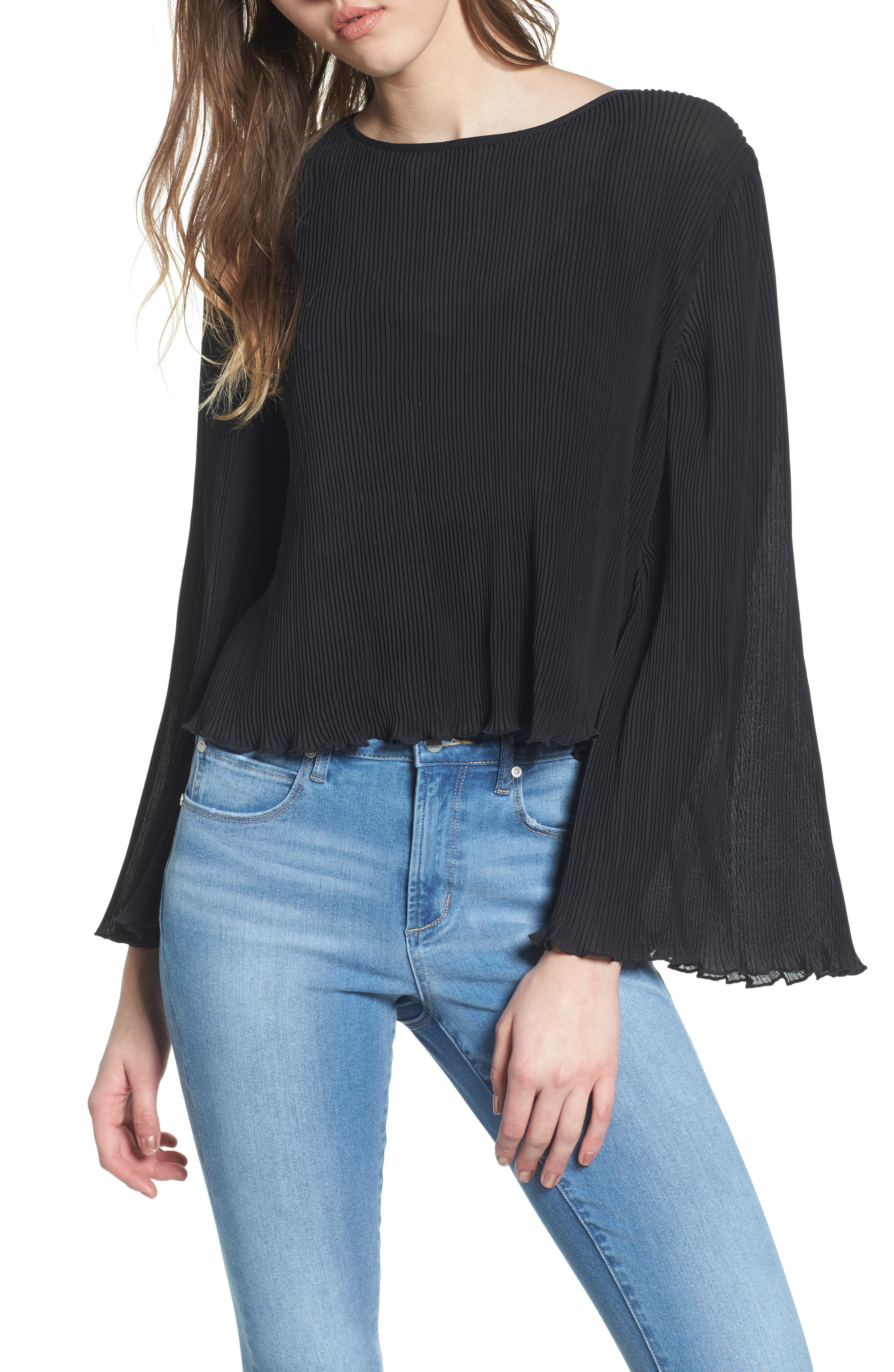 Pleated Bell Sleeve Top,                             Main thumbnail 1, color,                             001