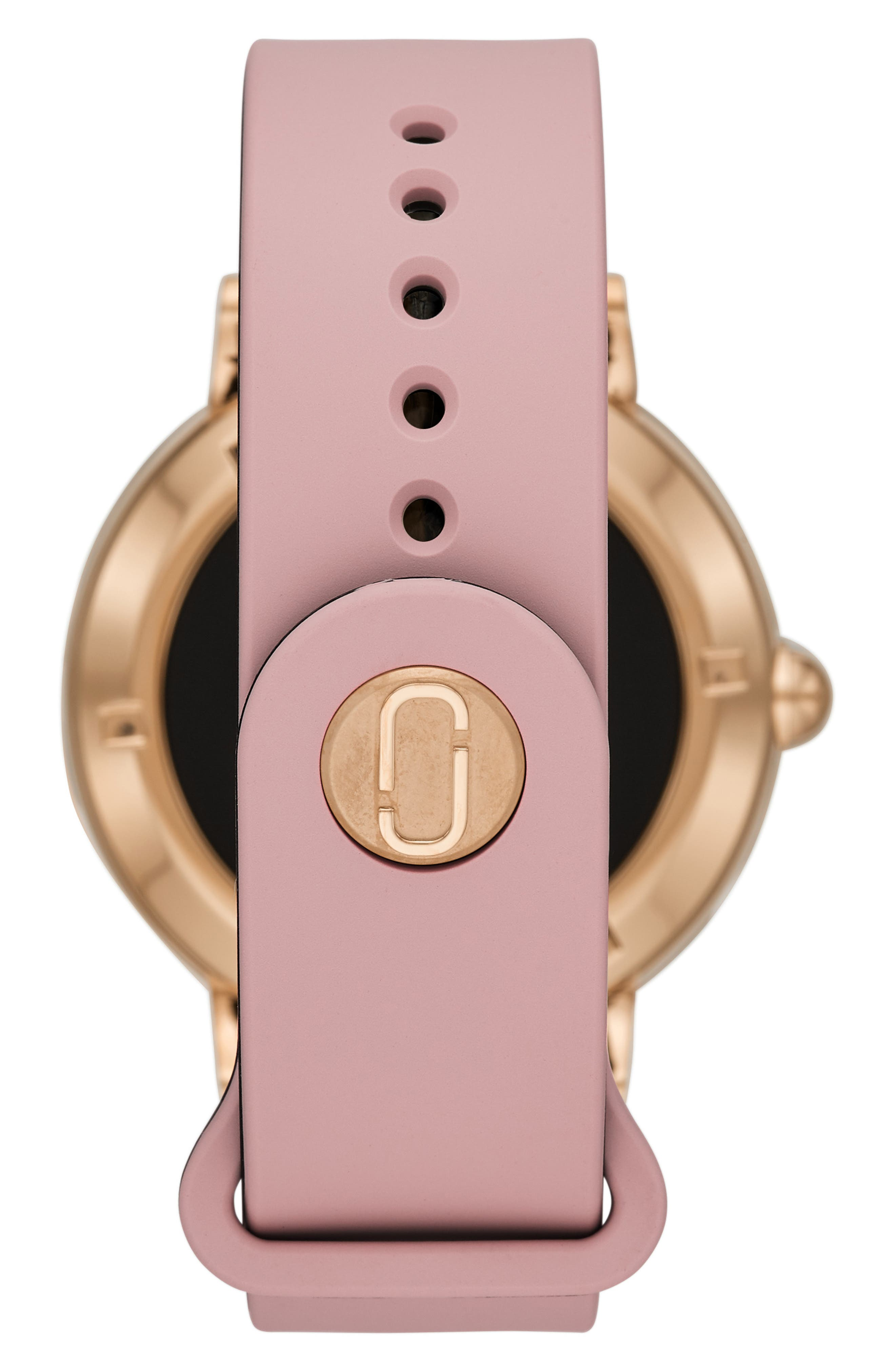 Riley Silcone Strap Smart Watch, 44mm,                             Alternate thumbnail 2, color,                             PINK/ ROSE GOLD