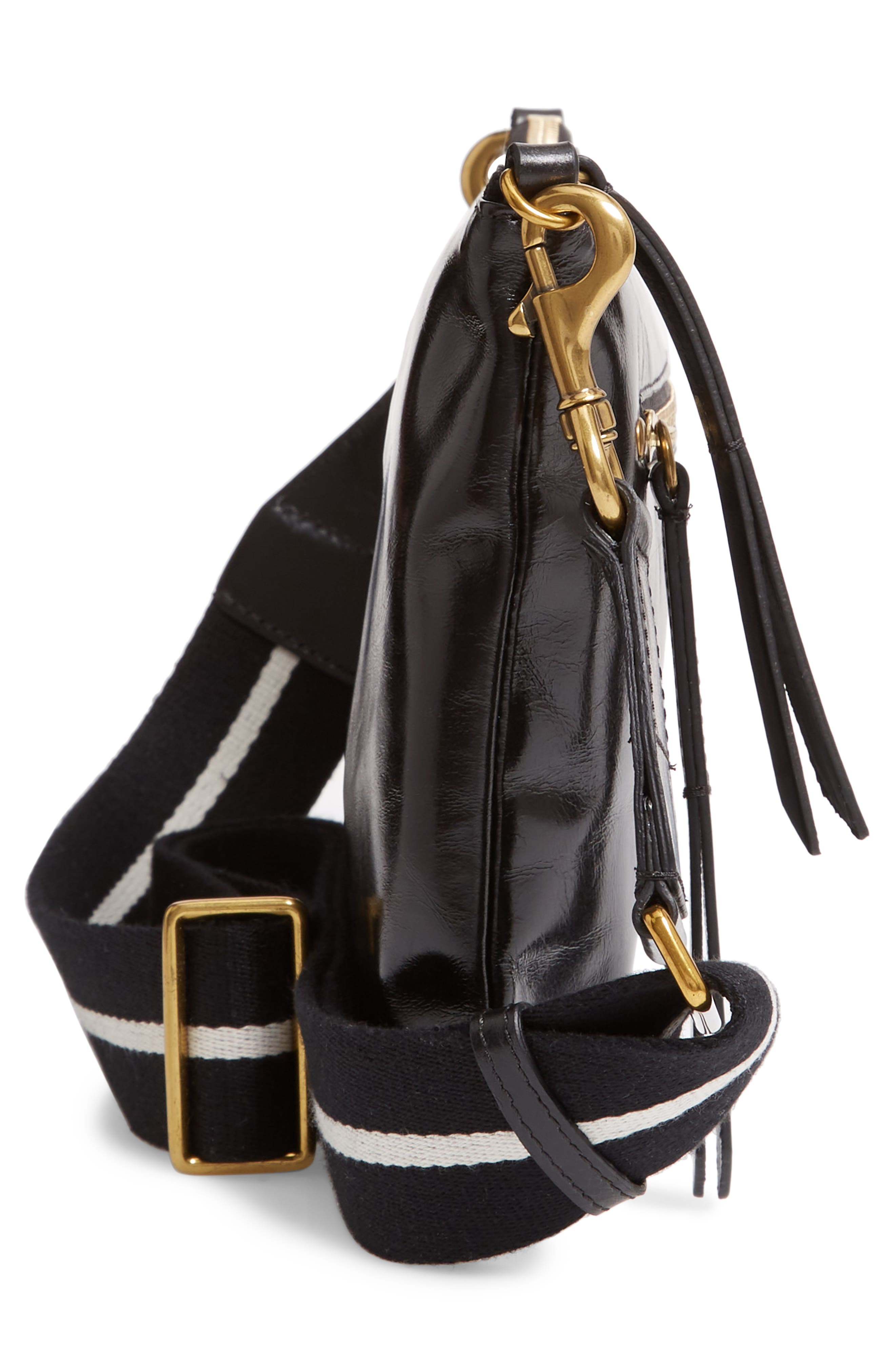 Nessah Leather Crossbody Bag,                             Alternate thumbnail 5, color,                             BLACK