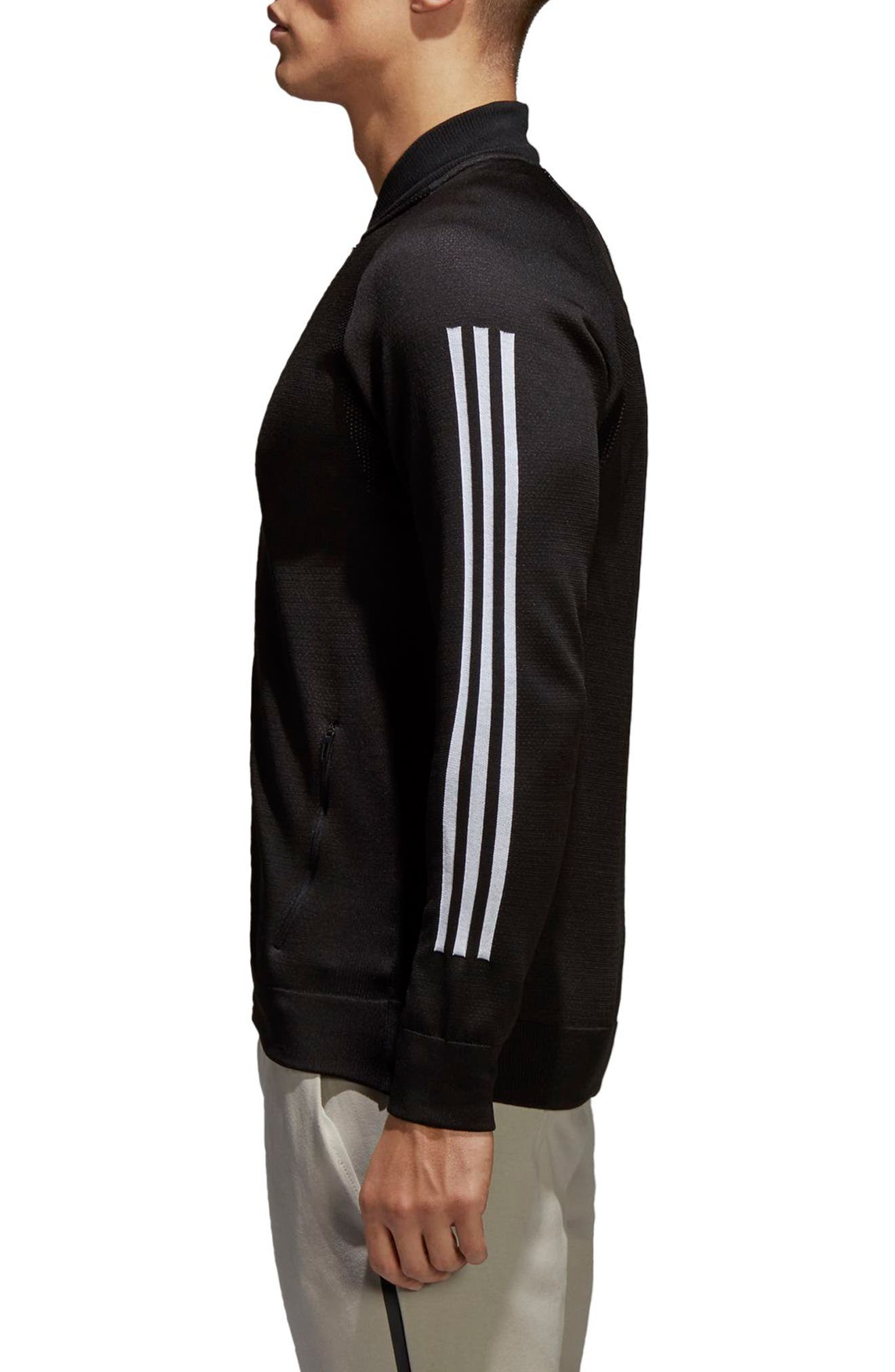 ID Knit Track Jacket,                             Alternate thumbnail 3, color,                             BLACK