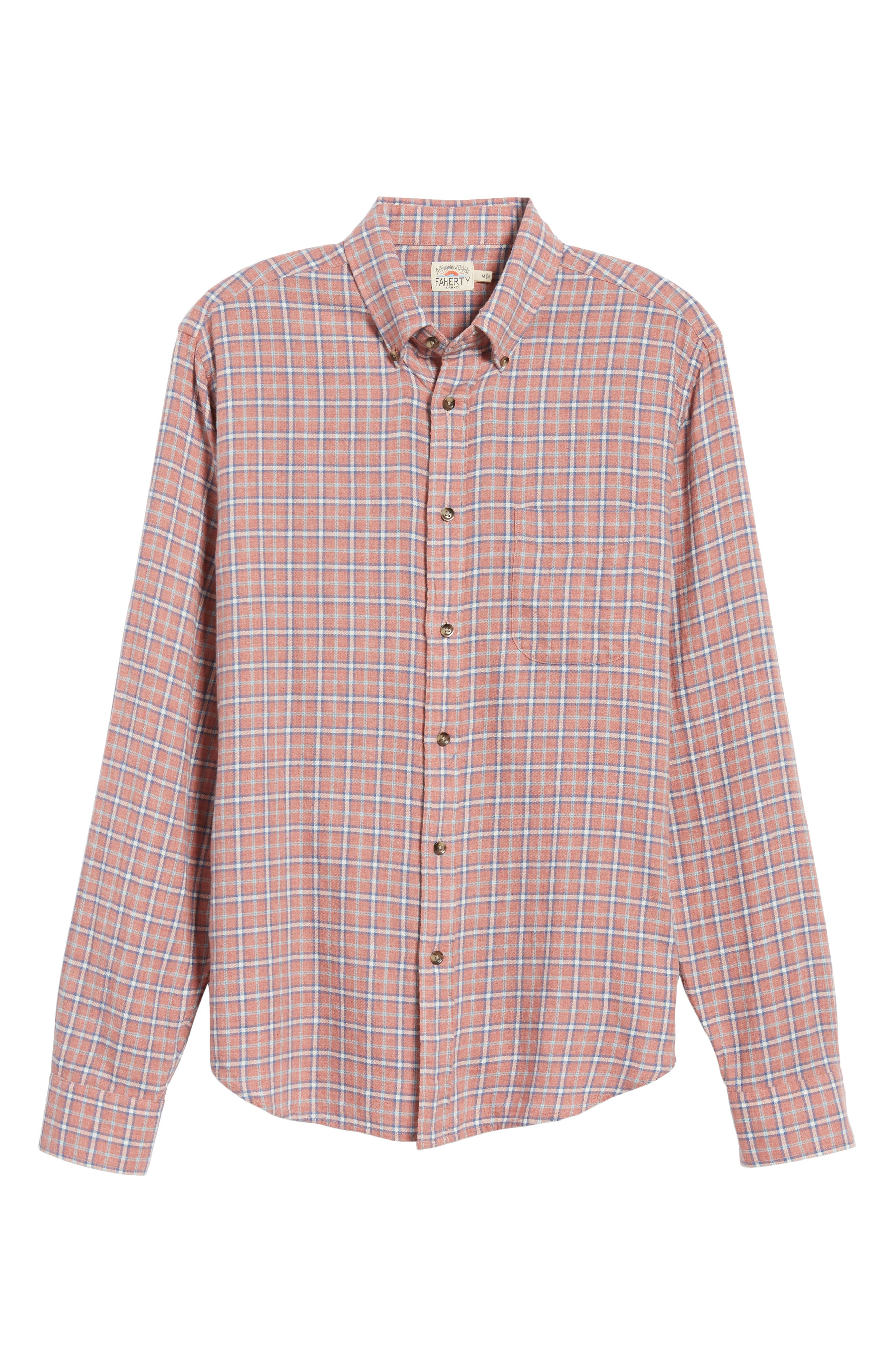 Pacific Check Organic Cotton Sport Shirt,                             Alternate thumbnail 5, color,                             HEATHER RED MULTI