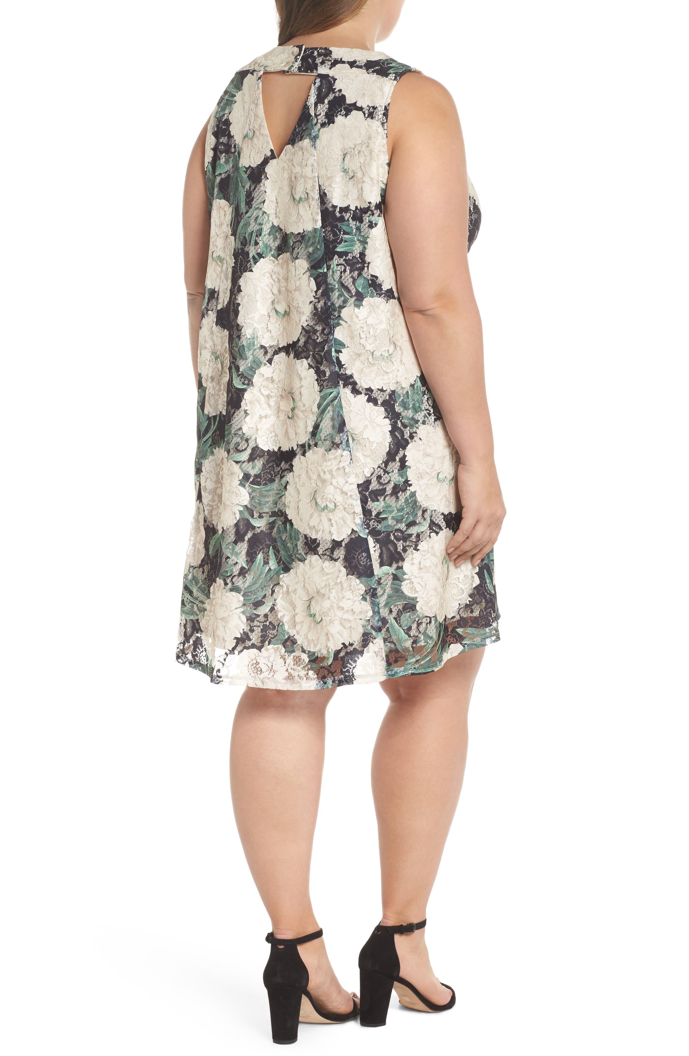 Print Lace Trapeze Dress,                             Alternate thumbnail 2, color,                             001