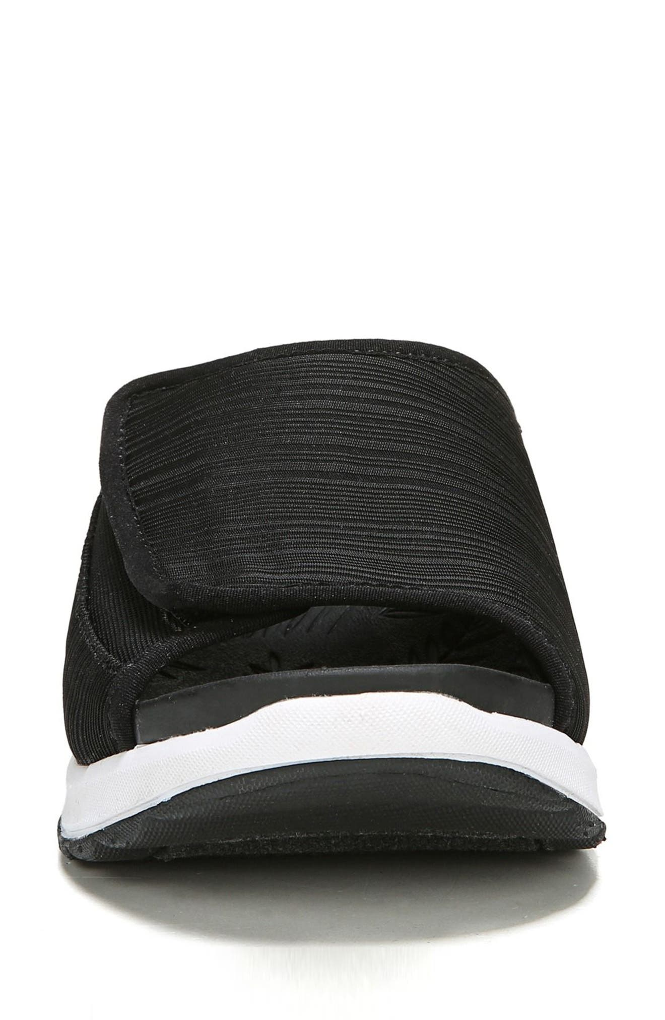Galaxy Slide Sandal,                             Alternate thumbnail 4, color,                             BLACK FABRIC