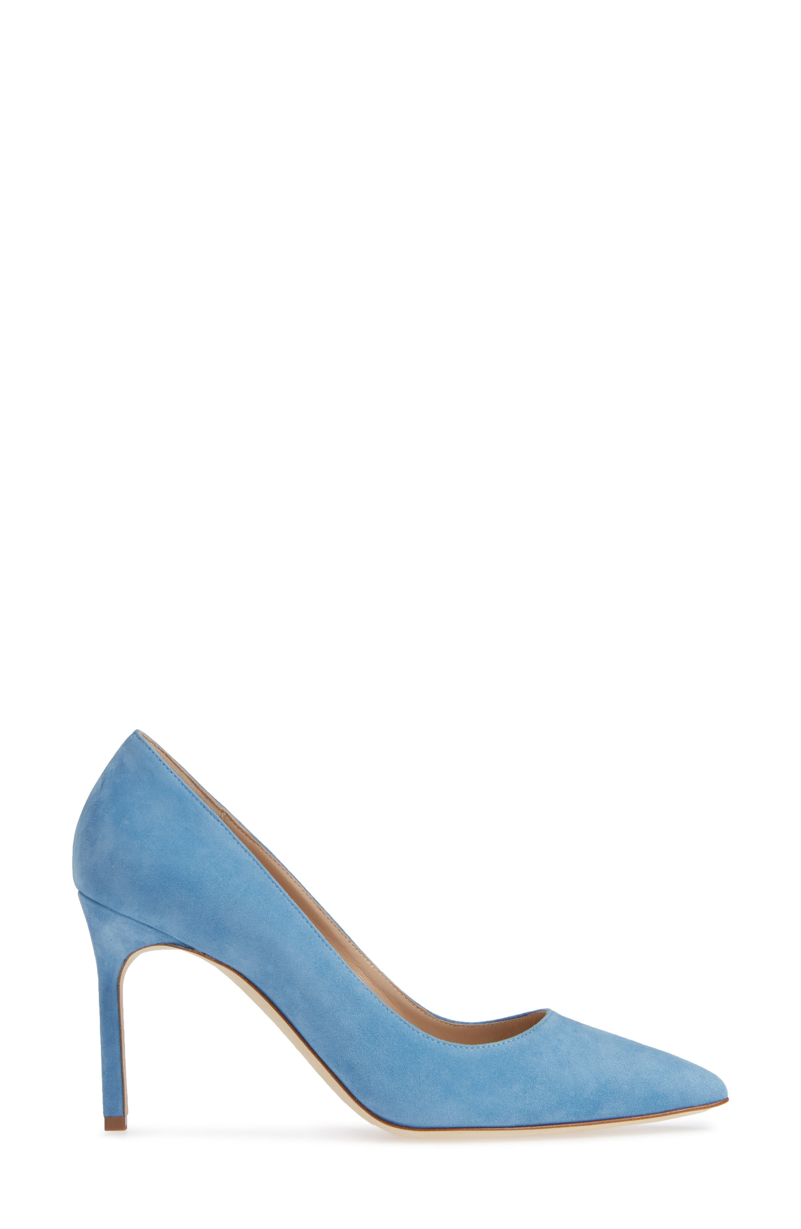 BB Pointy Toe Pump,                             Alternate thumbnail 3, color,                             POWDER BLUE SUEDE