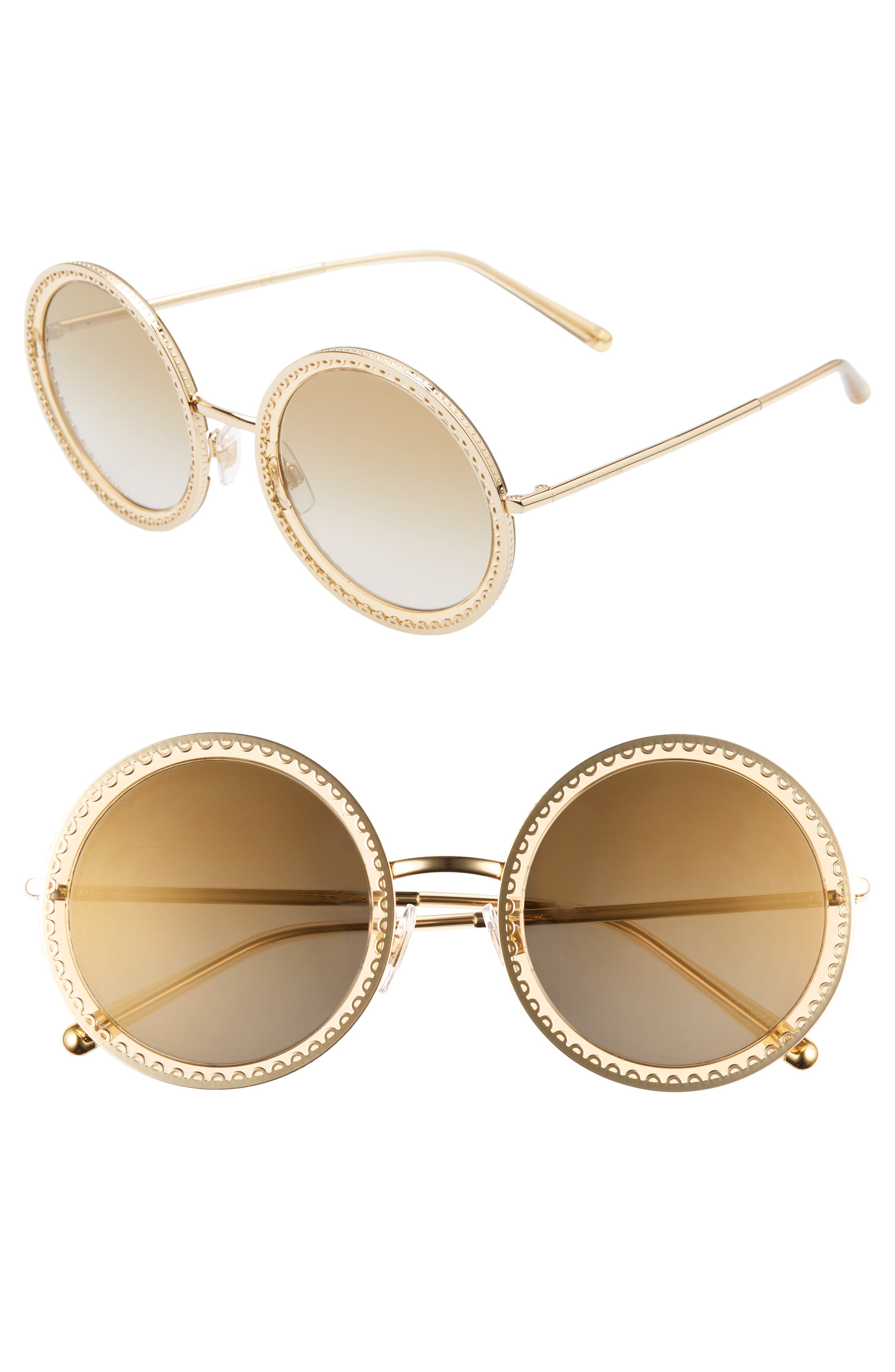 Dolce & gabbana Sacred Heart 5m Gradient Round Sunglasses - Gold Brown Gradient Mirror