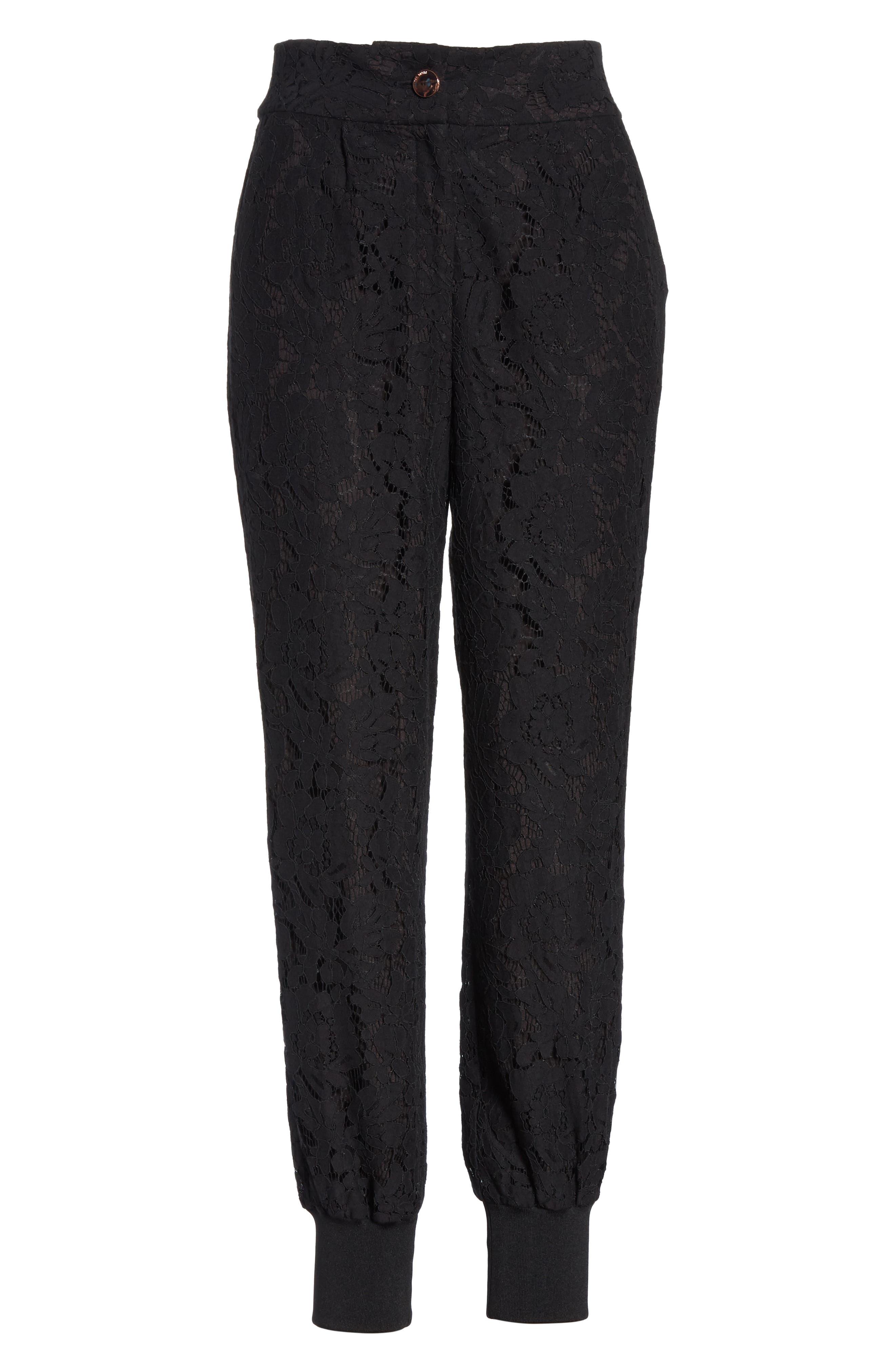 Cylar Lace Detail Formal Jogger Pants,                             Alternate thumbnail 6, color,                             BLACK