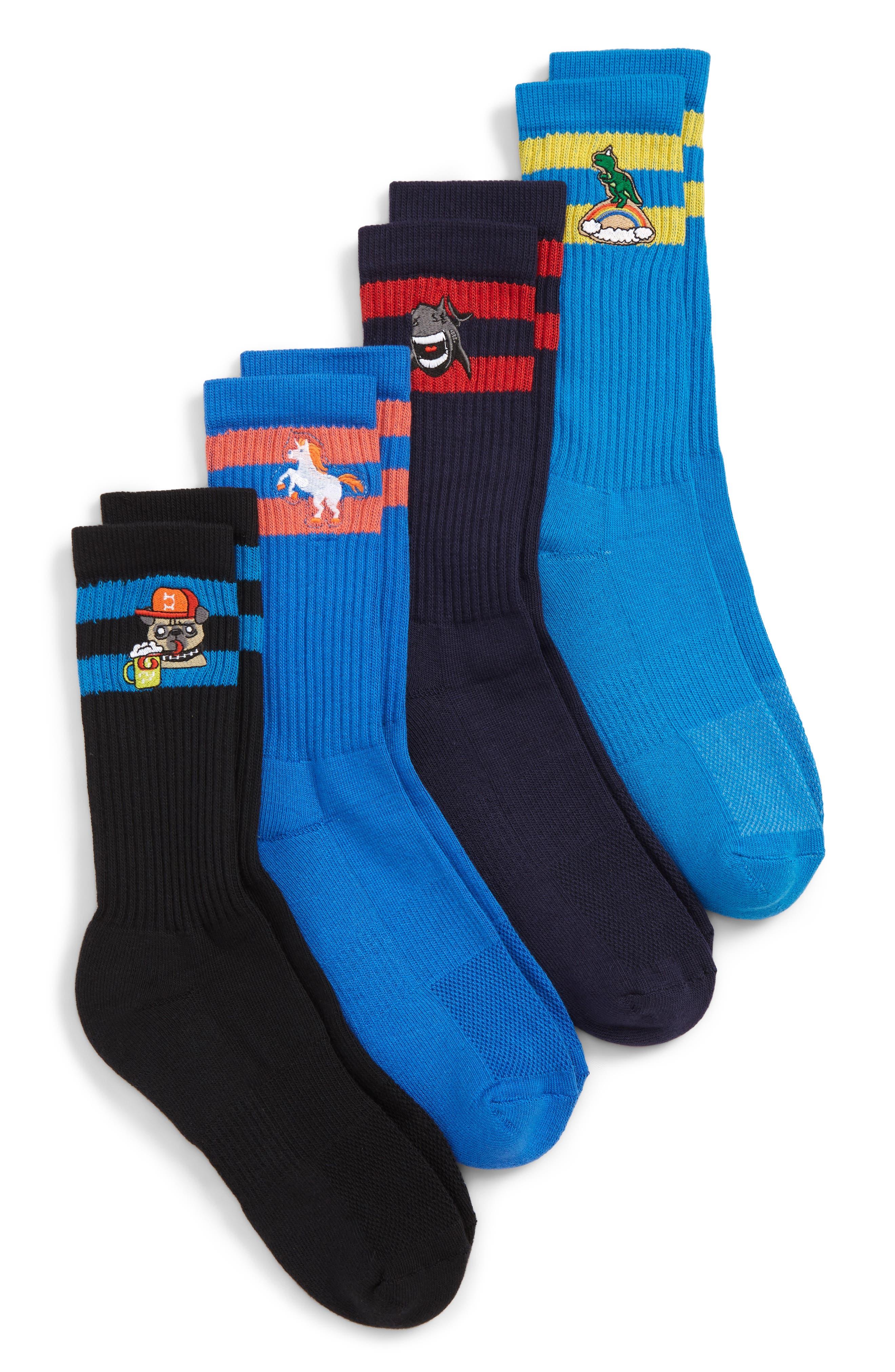 Icon 4-Pack Socks,                             Main thumbnail 1, color,                             BLACK/ NAVY/ BLUE ICONS