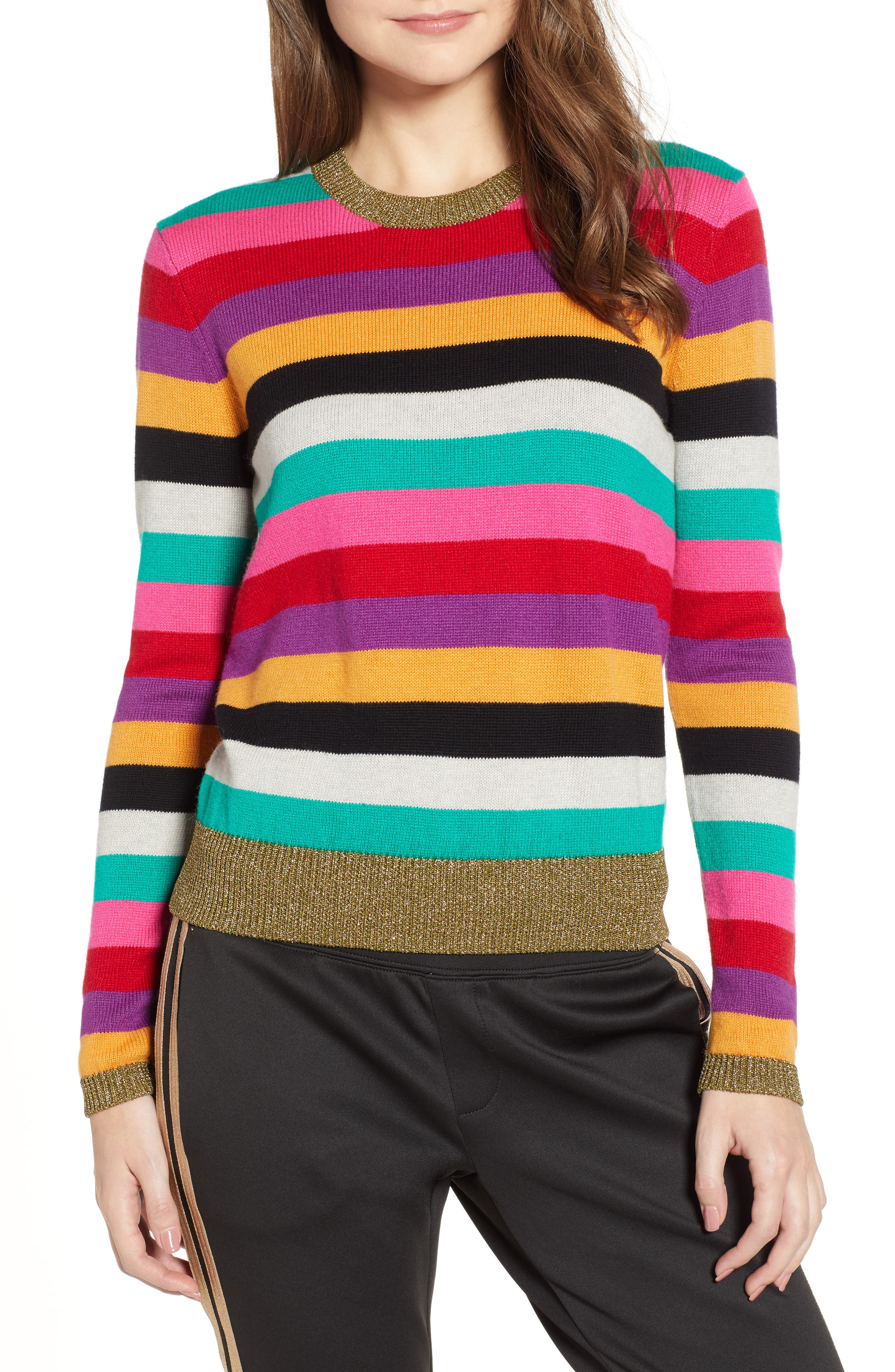 Stripe Metallic Trim Sweater,                             Main thumbnail 1, color,                             MULTICOLOR