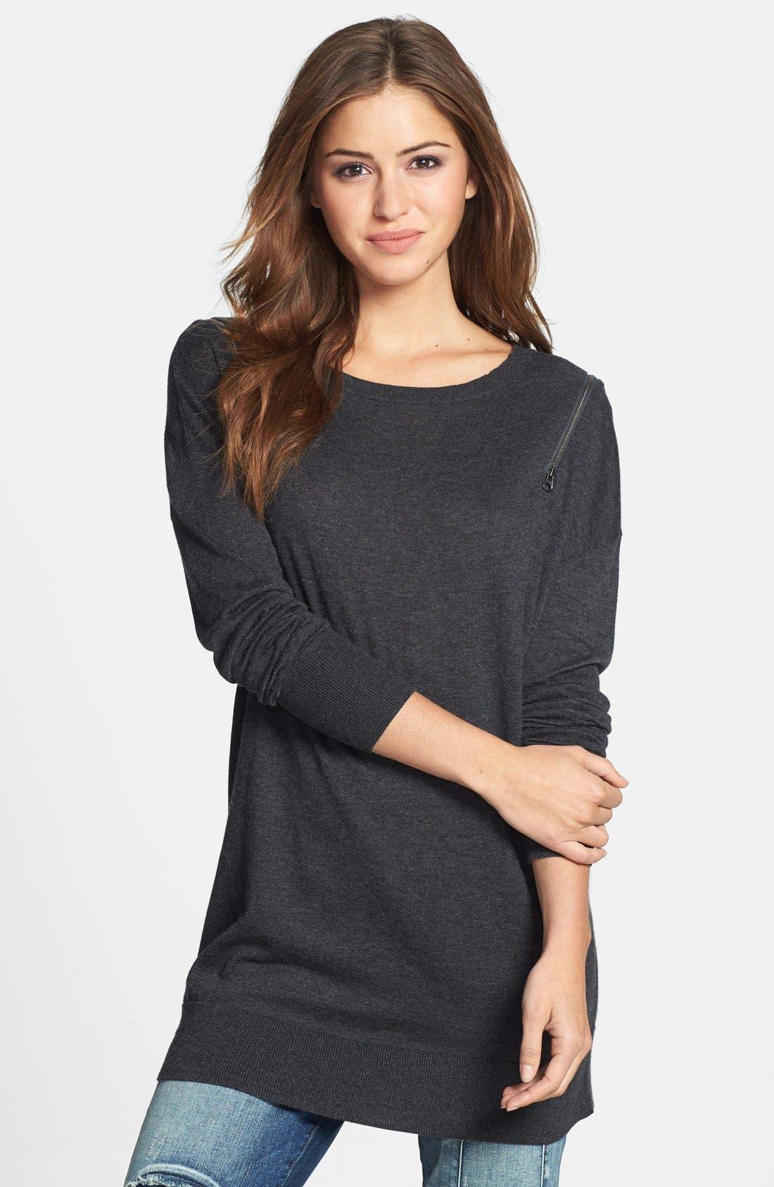 Zip Shoulder Crewneck Tunic Sweater, Main, color, 021