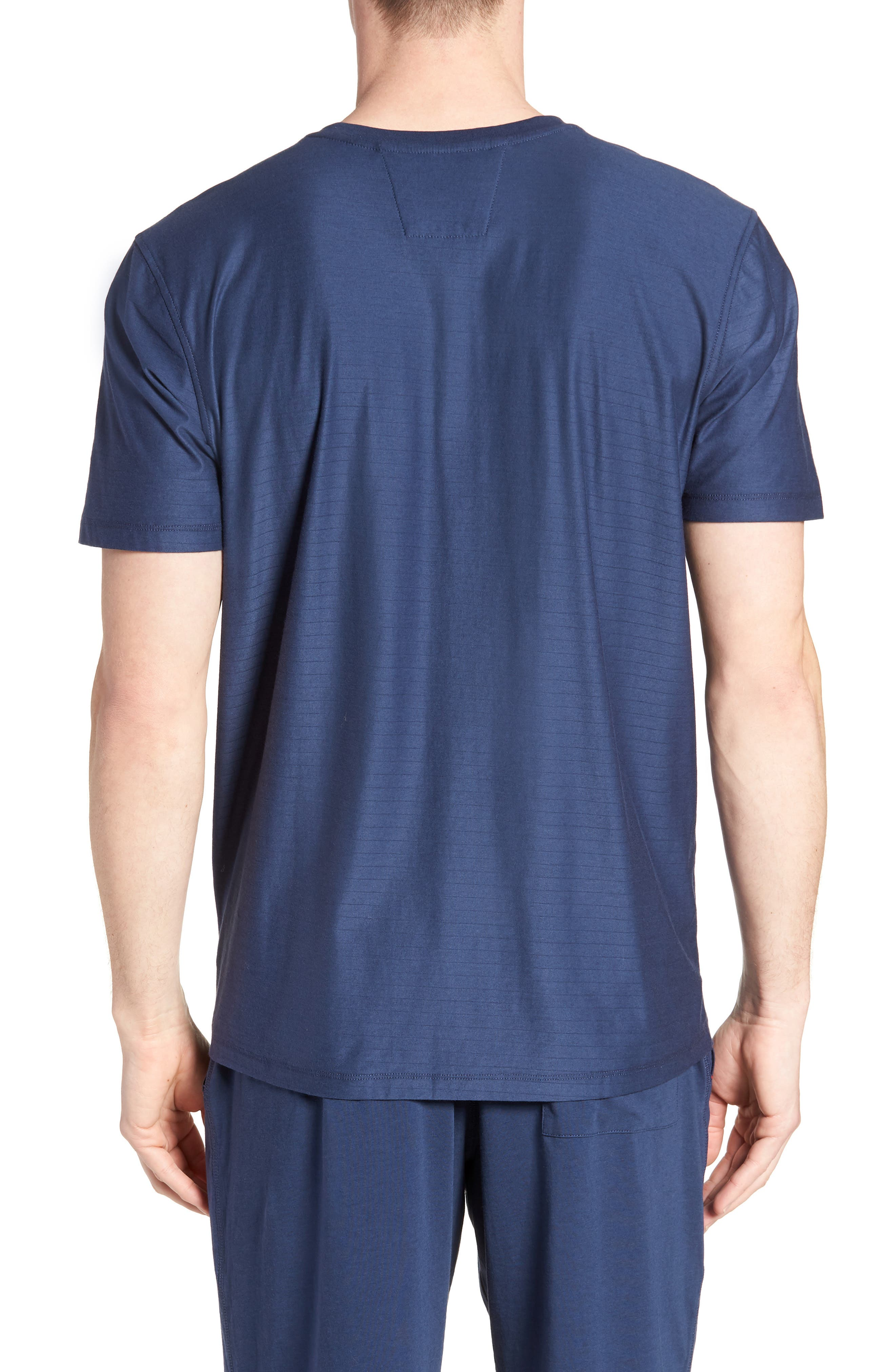 Pima Cotton & Modal V-Neck T-Shirt,                             Alternate thumbnail 2, color,                             NAVY