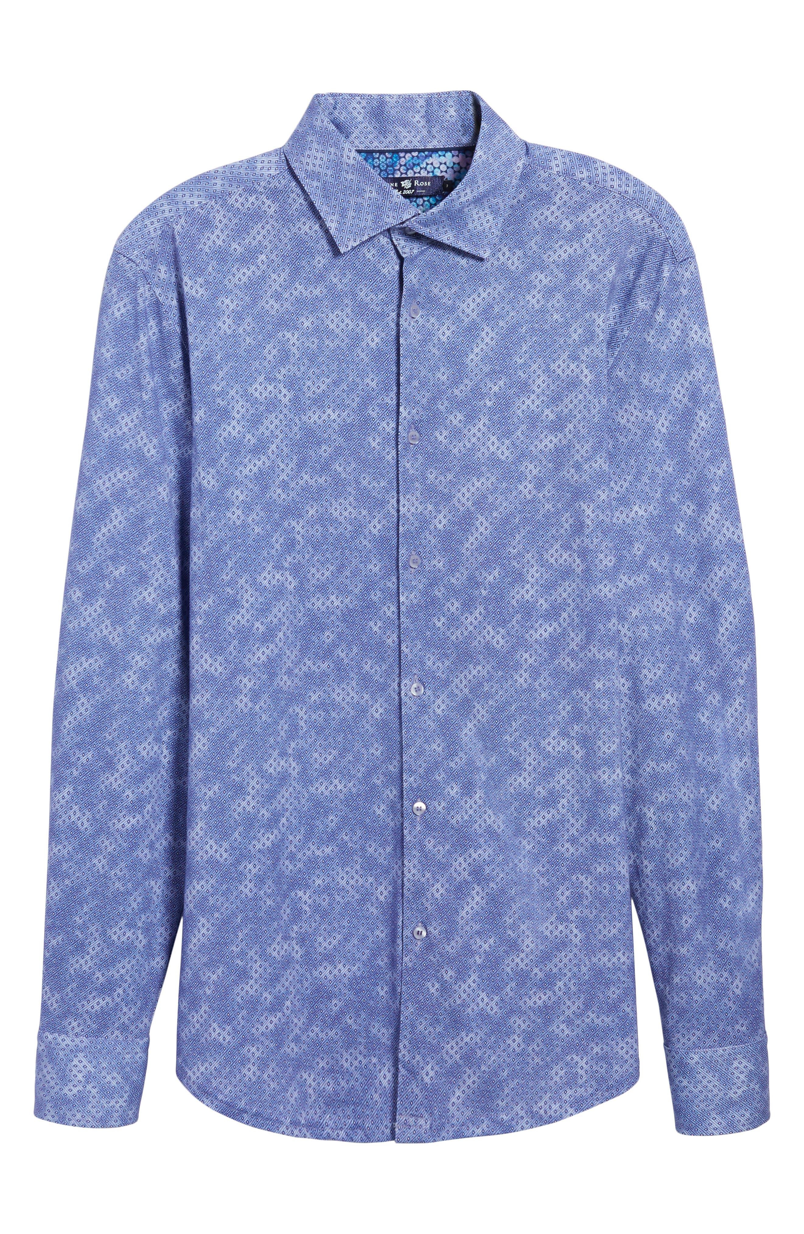 Slim Fit Wavy Diamond Print Sport Shirt,                             Alternate thumbnail 6, color,                             400