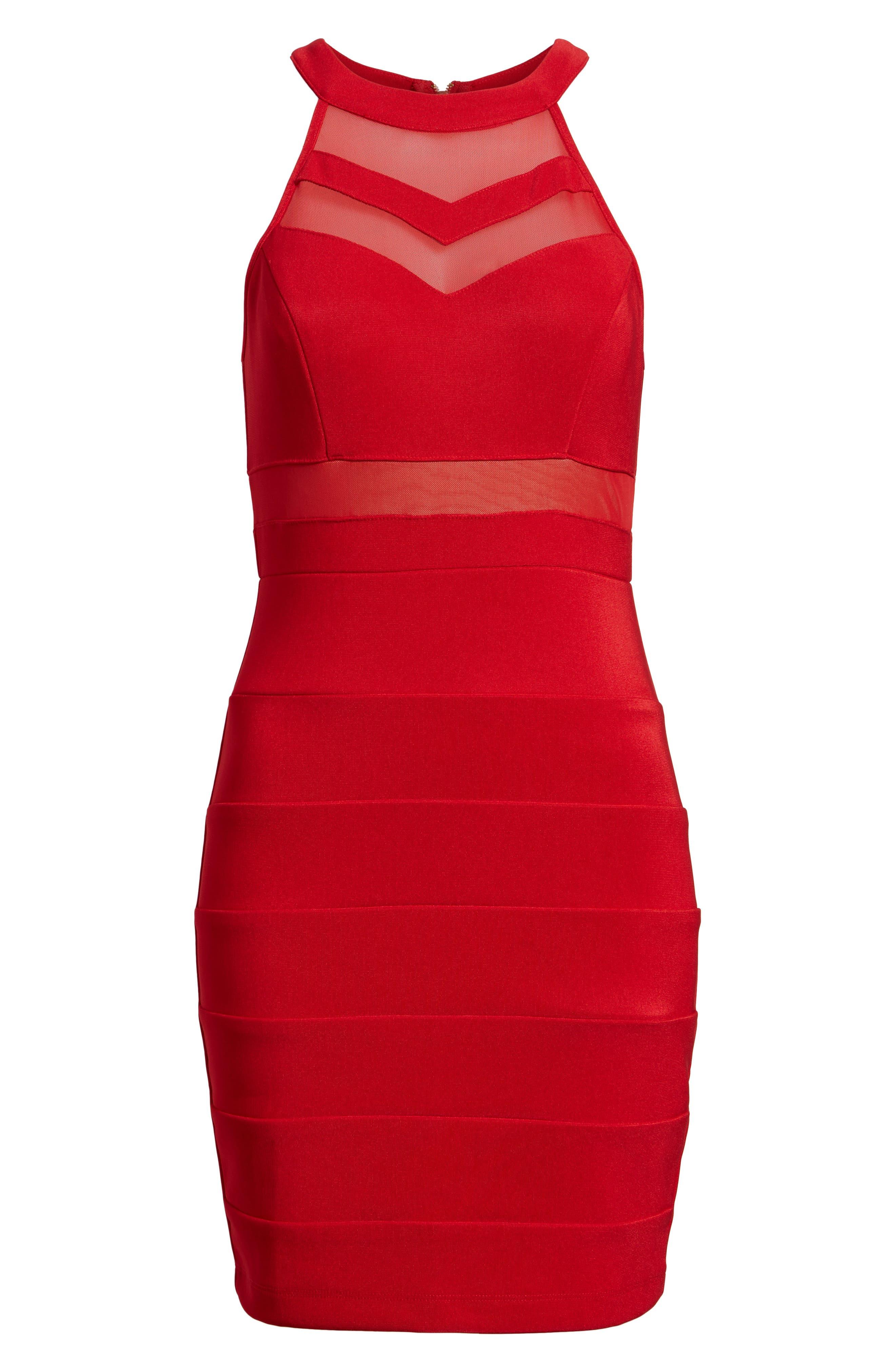 Illusion Body-Con Dress,                             Alternate thumbnail 6, color,
