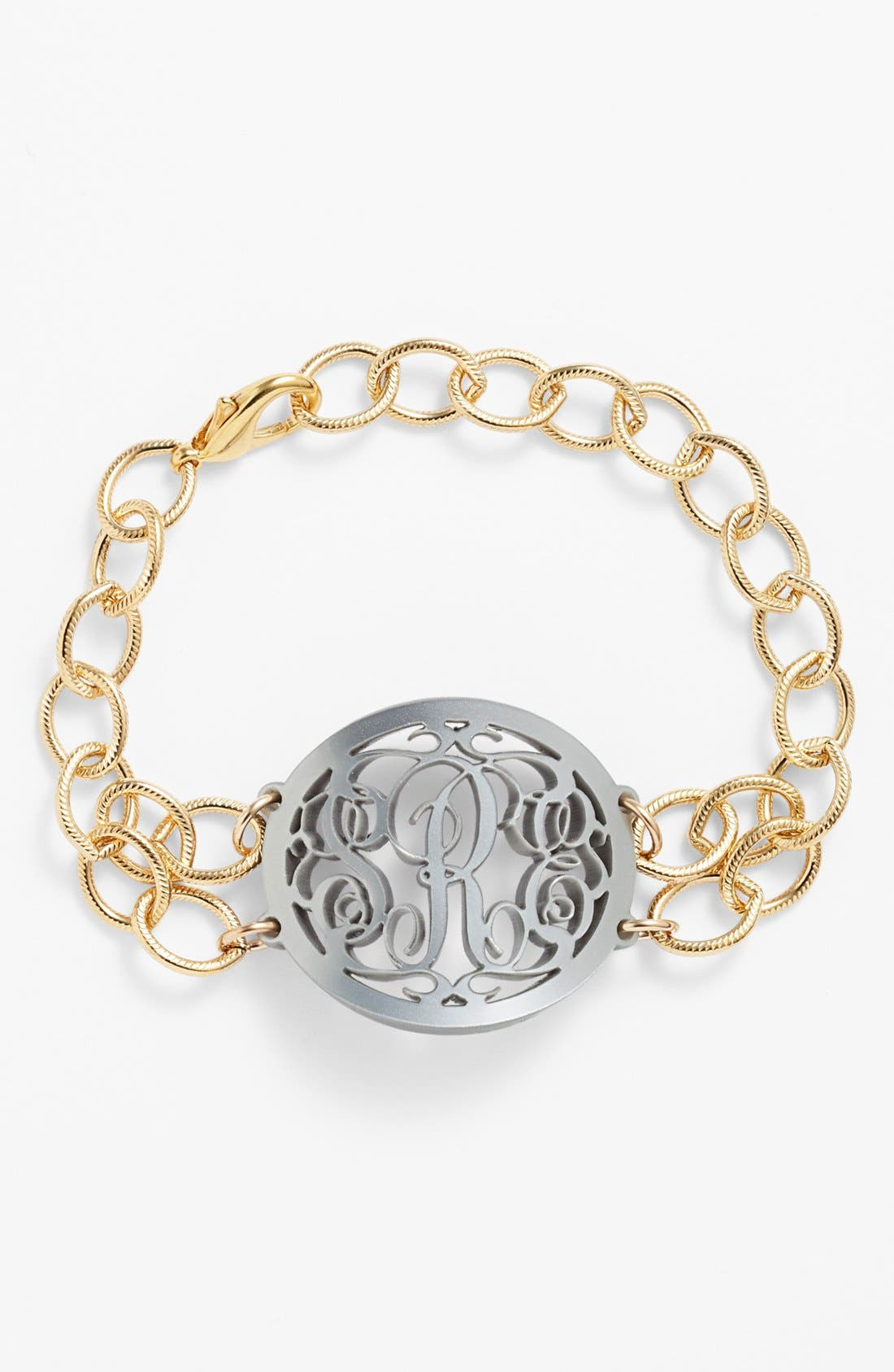 'Annabel' Medium Oval Personalized Monogram Bracelet,                         Main,                         color, GUNMETAL/ GOLD