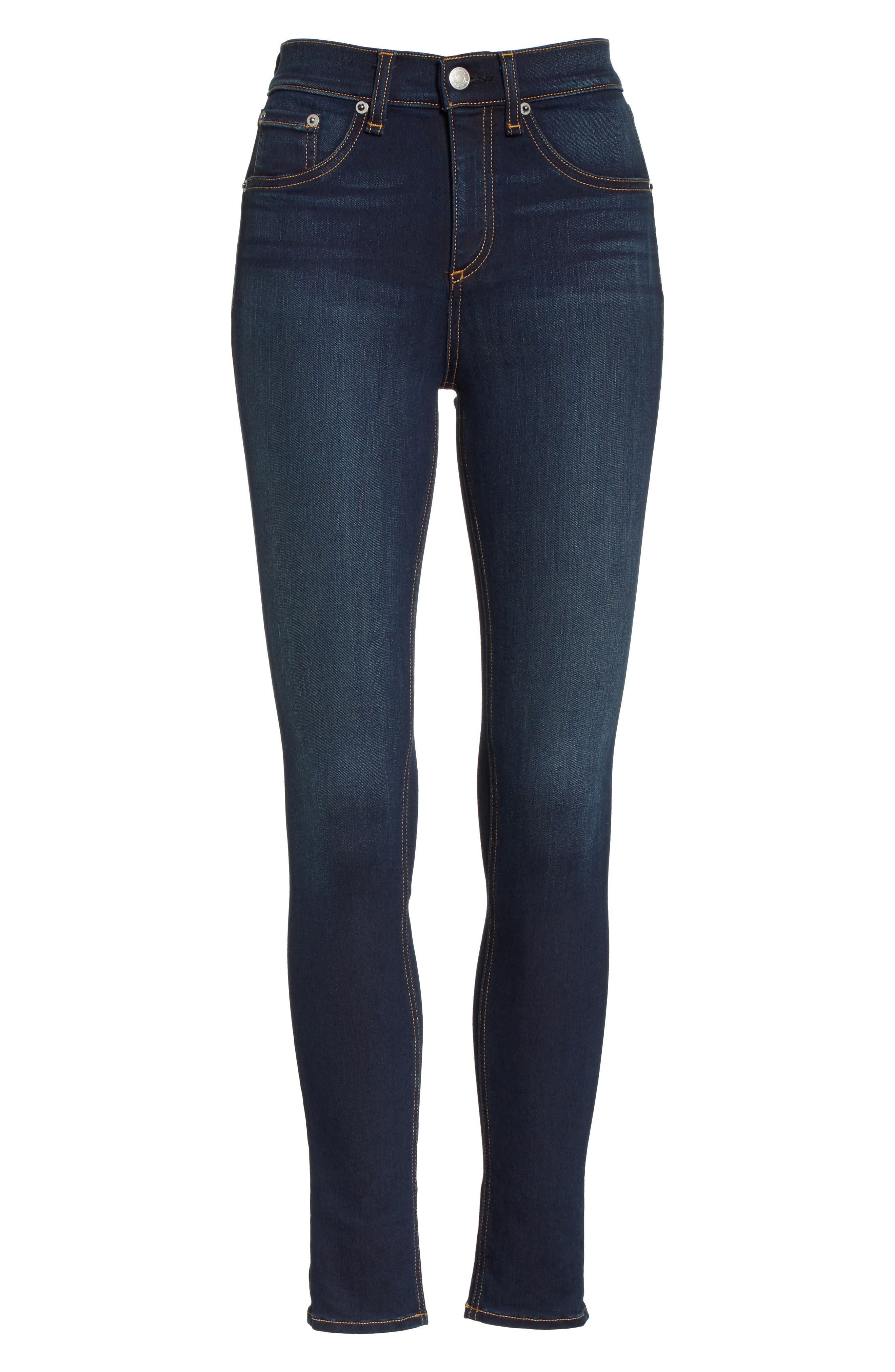 High Waist Ankle Skinny Jeans,                             Alternate thumbnail 7, color,                             BEDFORD