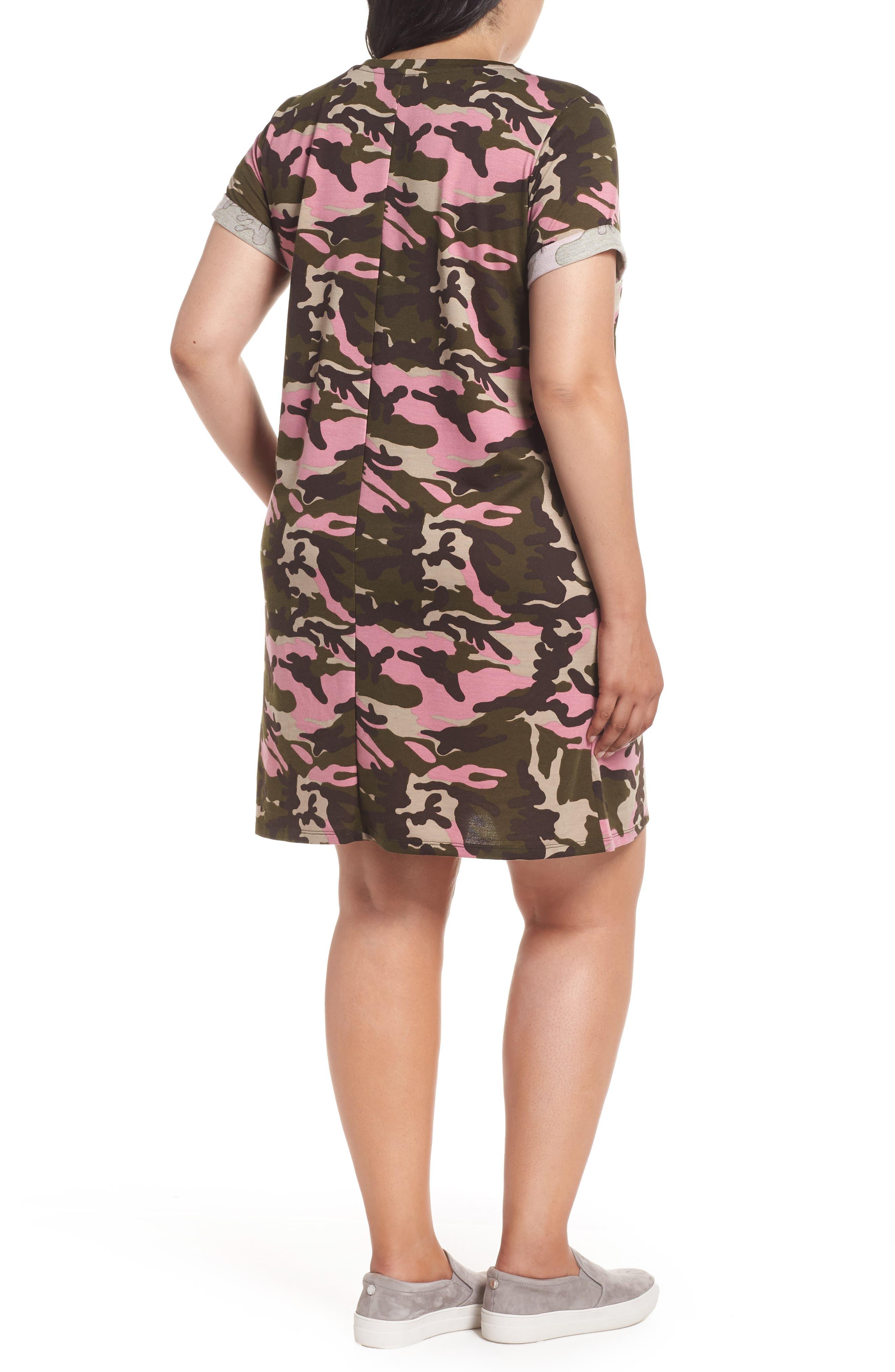 Camo T-Shirt Dress,                             Alternate thumbnail 2, color,                             PINK CAMO